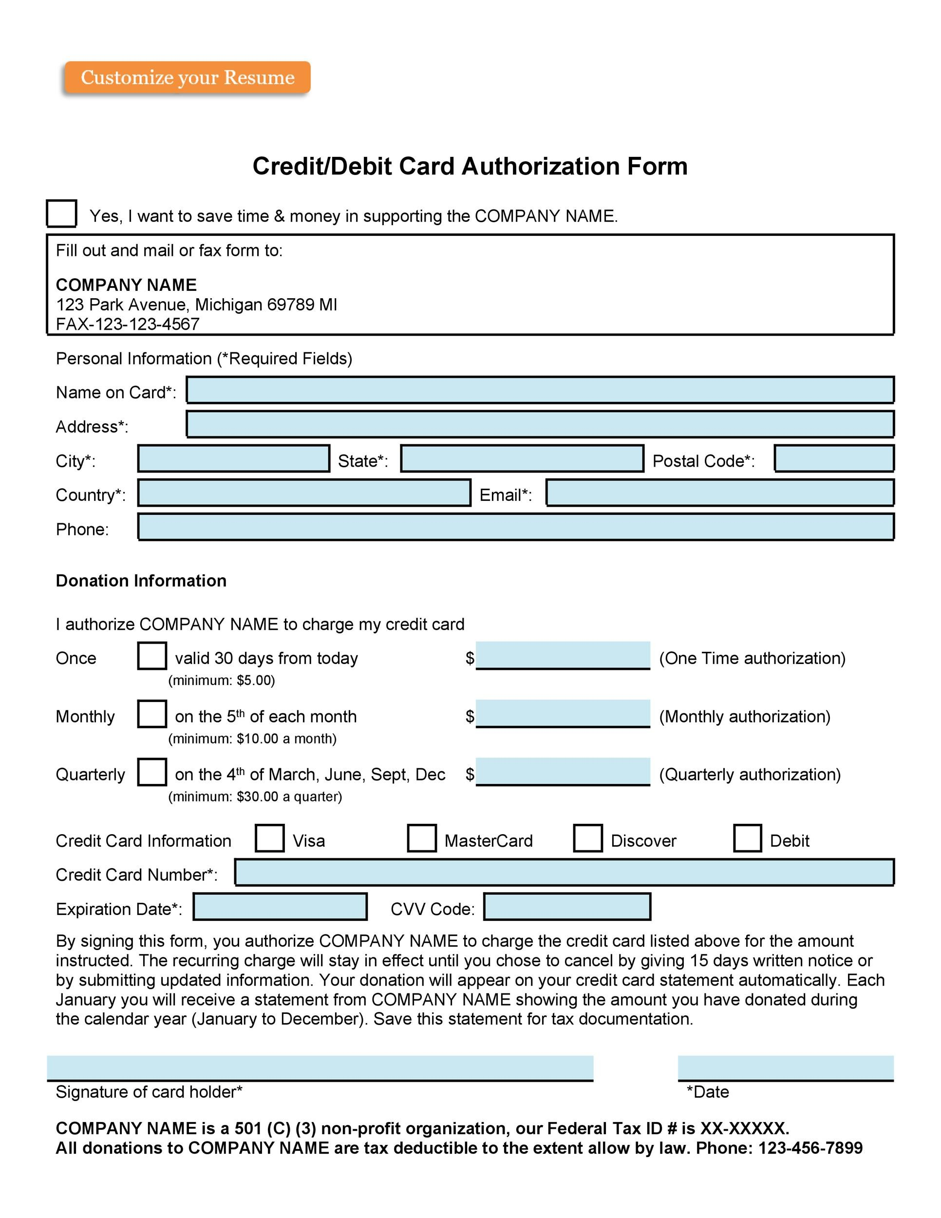 Free credit card authorization form template 30