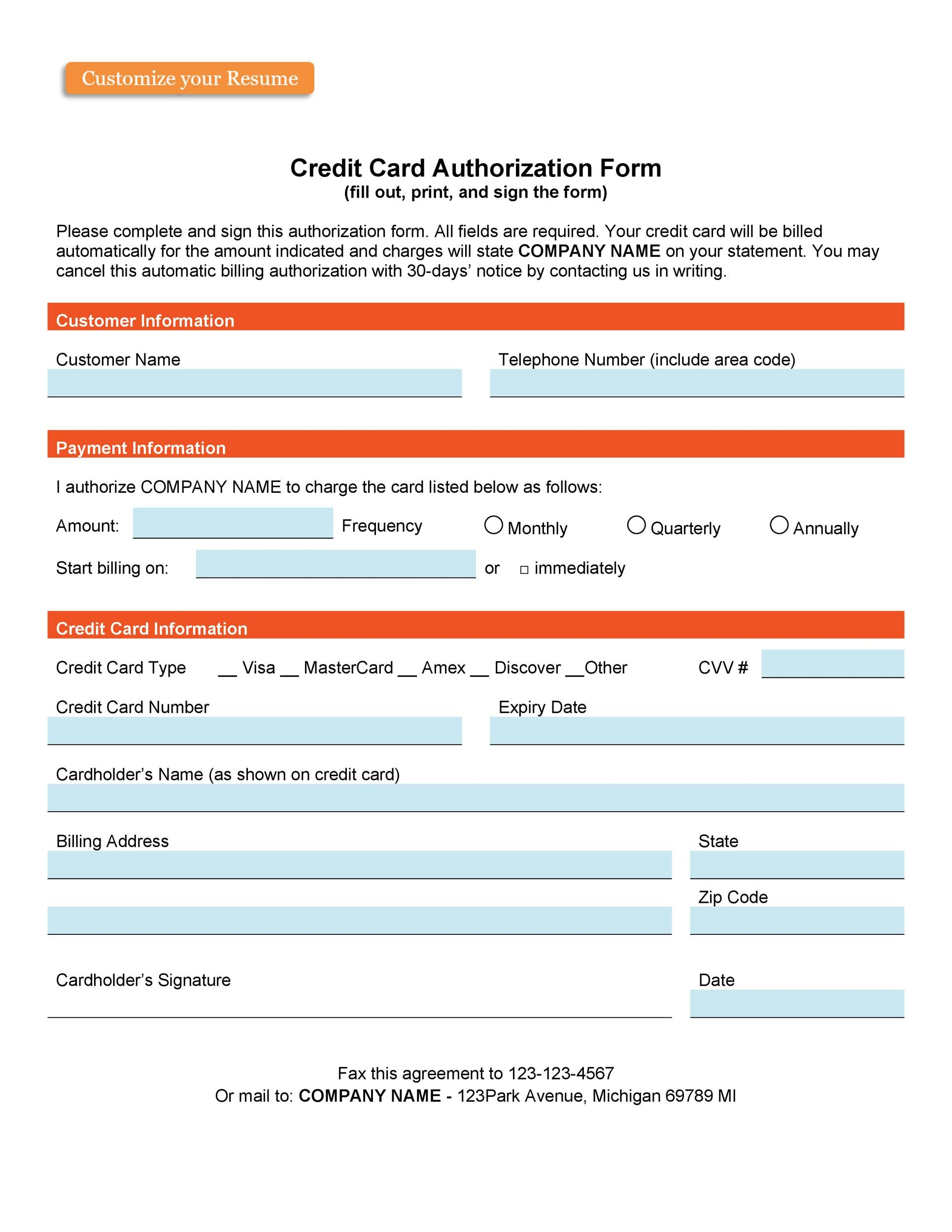 Free credit card authorization form template 31