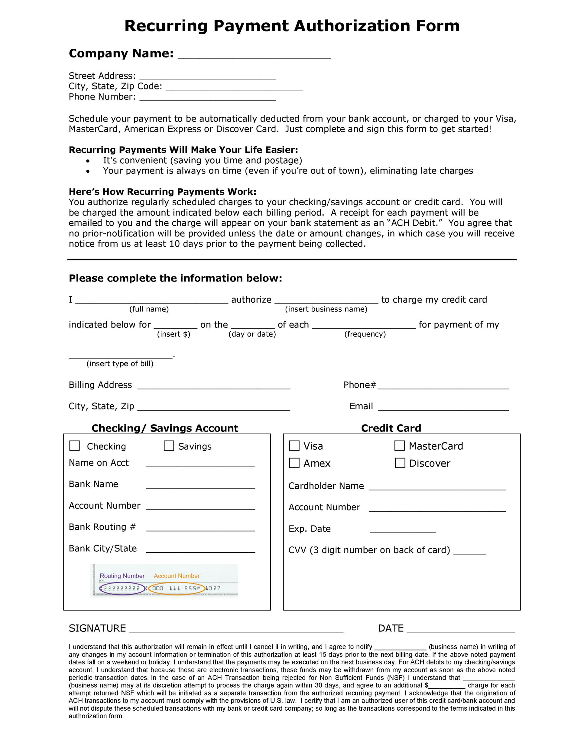 Free credit card authorization form template 32