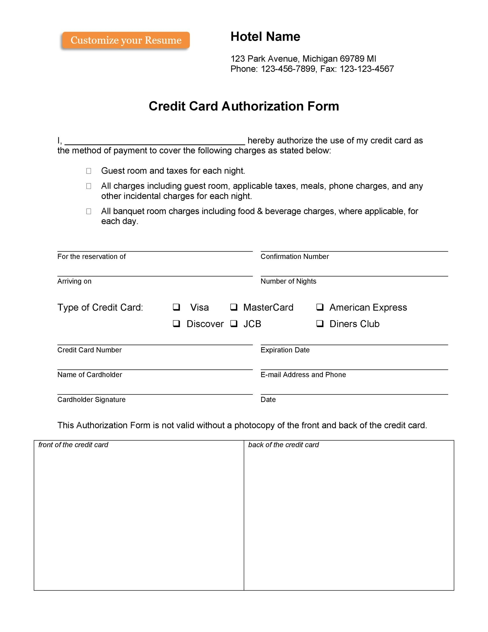 Free credit card authorization form template 34