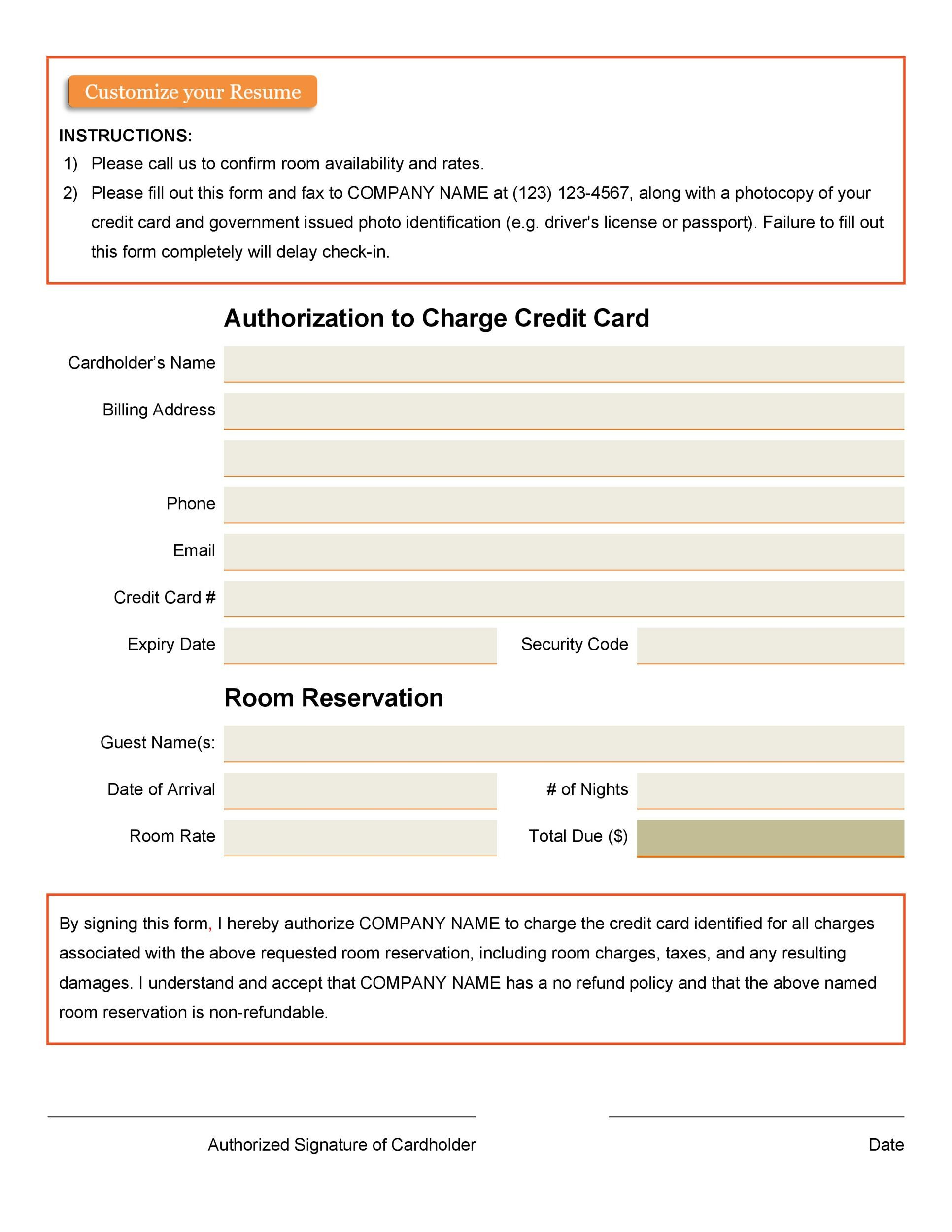Free credit card authorization form template 37