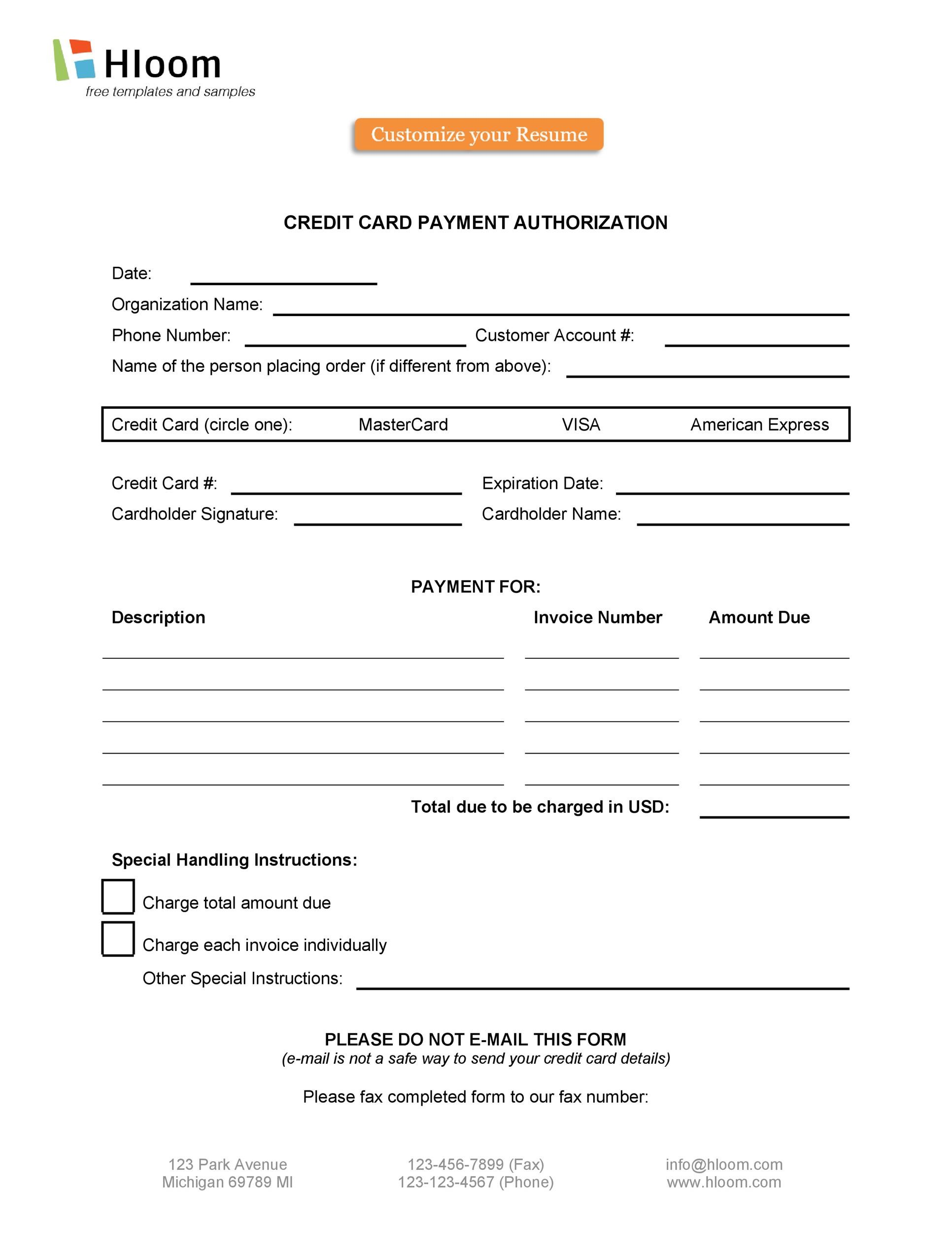 Free credit card authorization form template 38