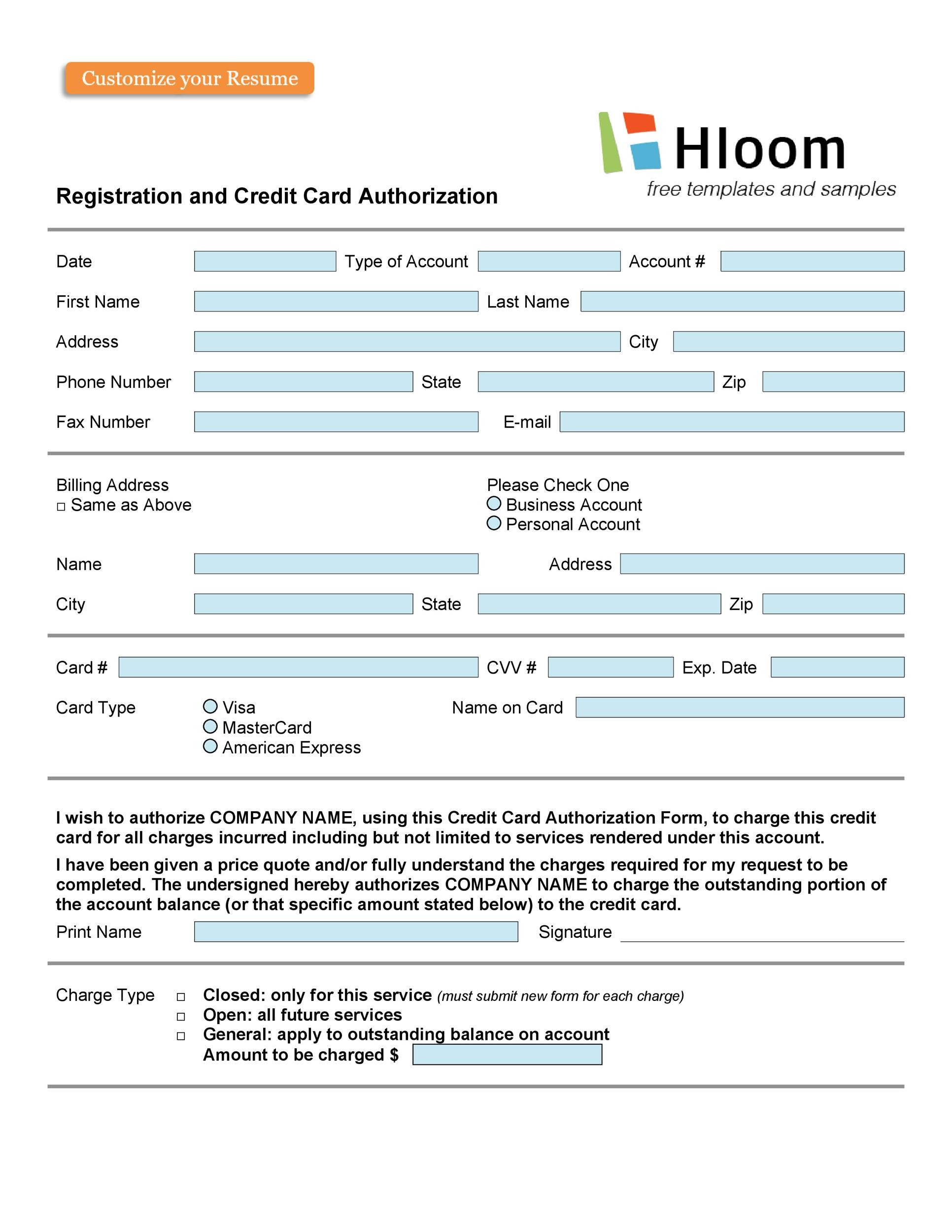 Free credit card authorization form template 39