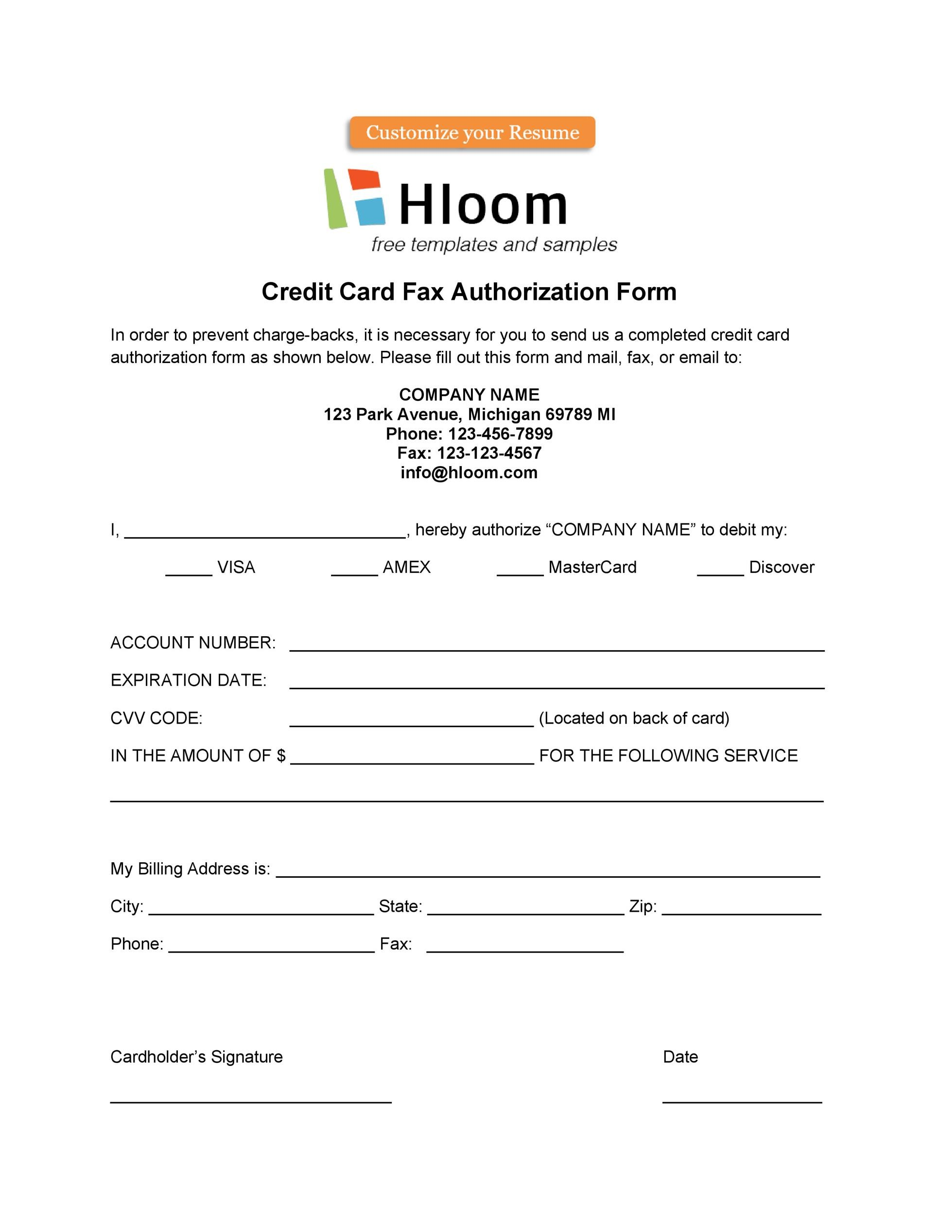 Free credit card authorization form template 40