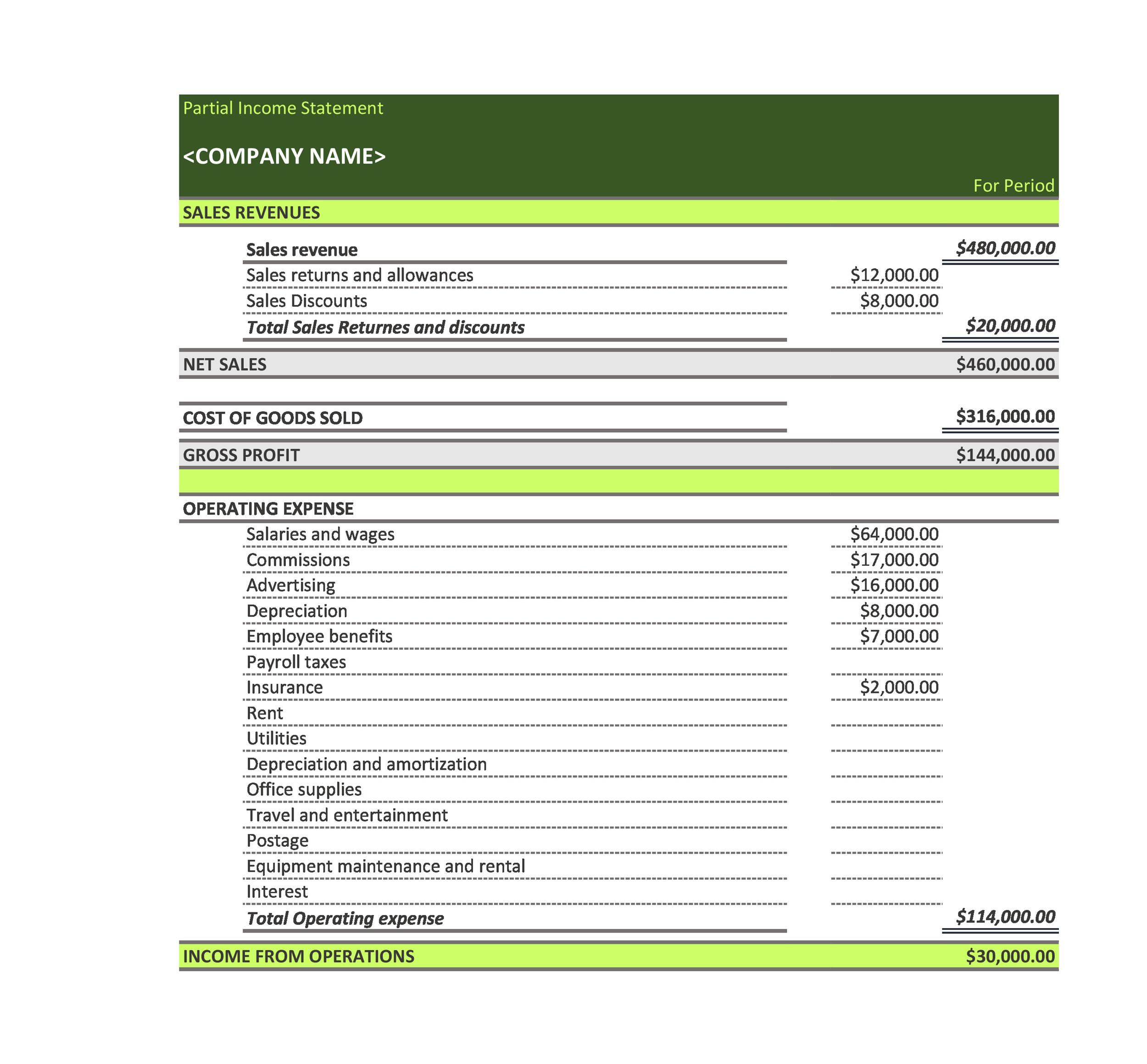 Free Partial Income Statement