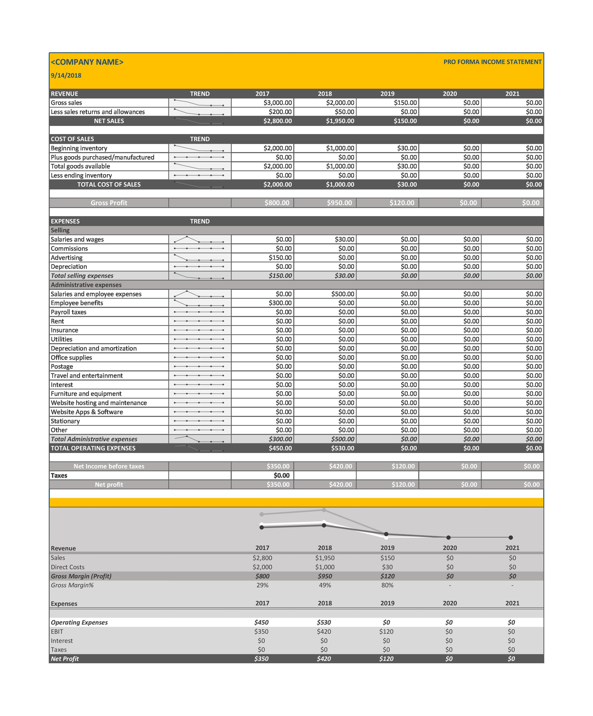 Free Pro forma Income Statement