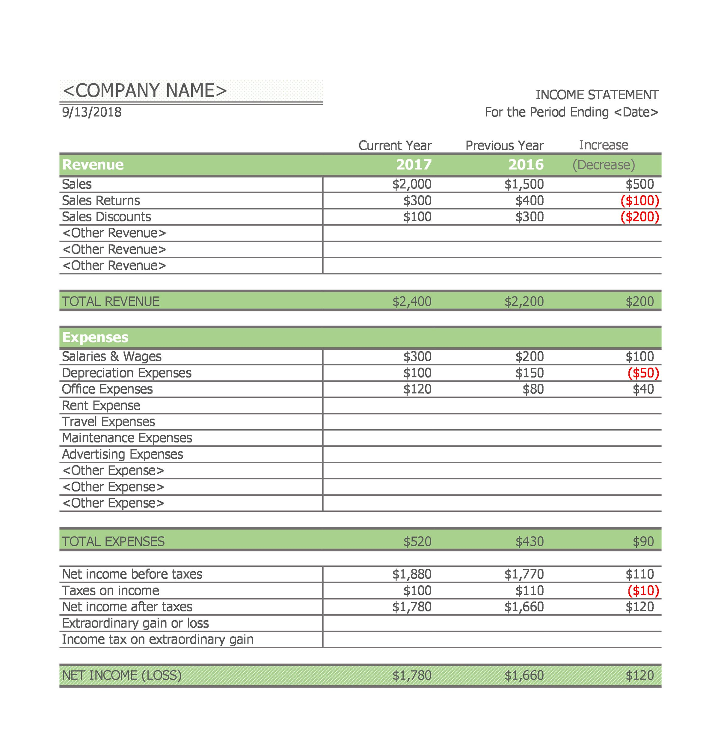 Free Single-Step Income Statement