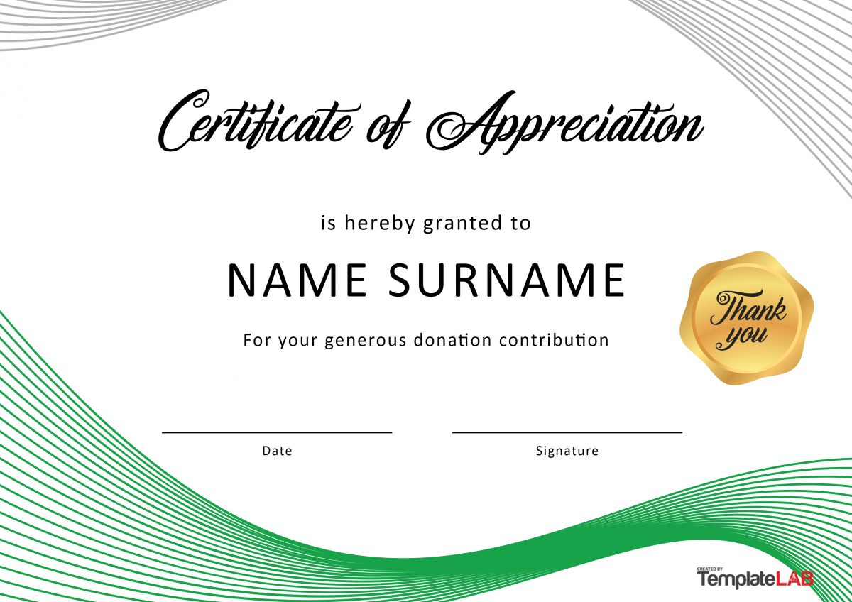 image relating to Free Printable Certificates of Appreciation referred to as 30 Absolutely free Certification of Appreciation Templates and Letters