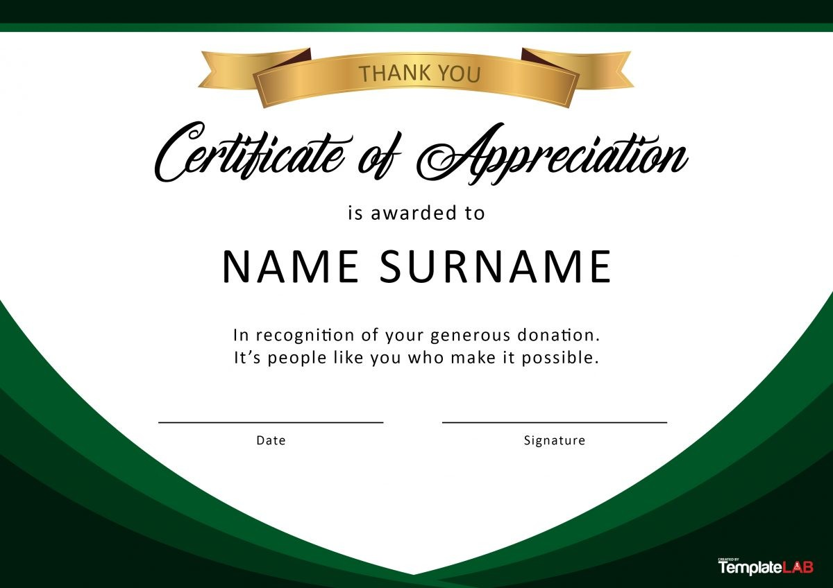 Free Certificate of Appreciation for Donation 02