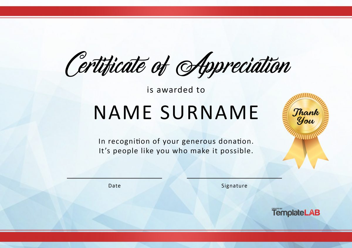 Free Certificate Of Appreciation For Donation 03