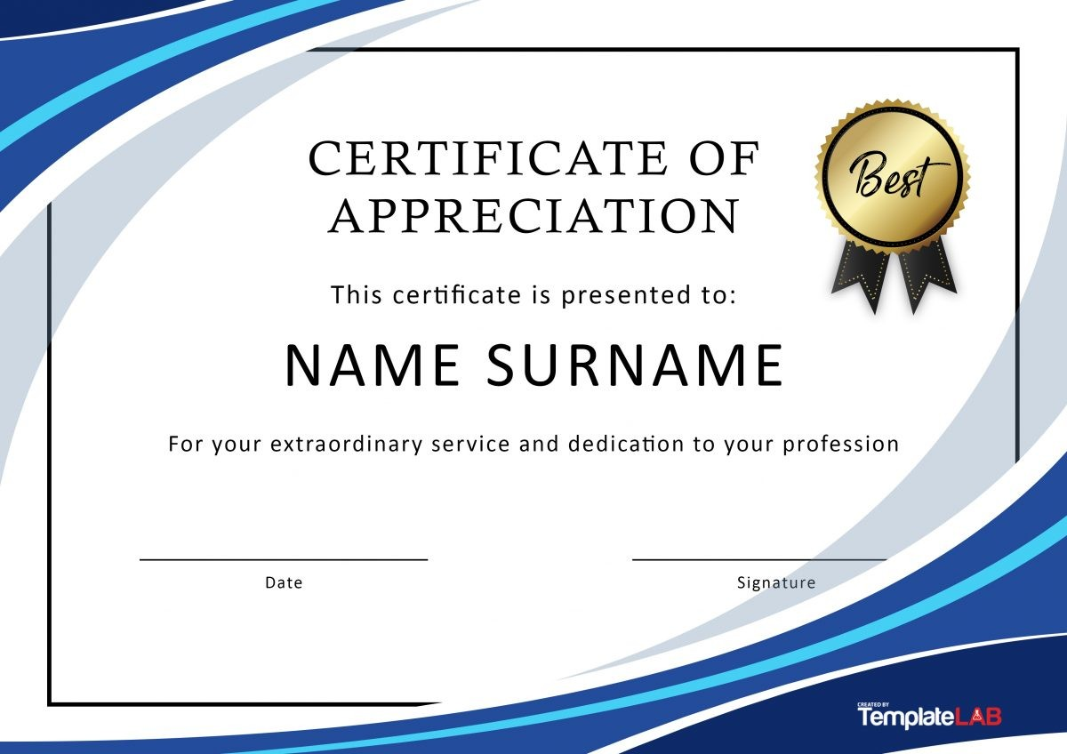 picture relating to Free Printable Certificates of Appreciation referred to as 30 Totally free Certification of Appreciation Templates and Letters