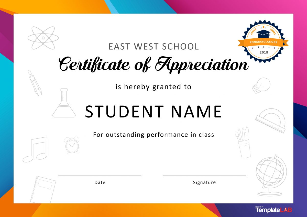 Free Certificate of Appreciation for Students 01