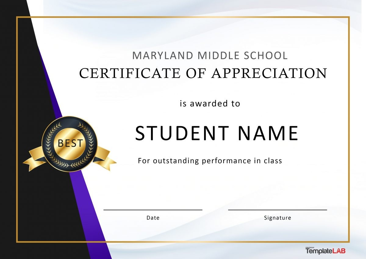 Free Certificate of Appreciation for Students 02