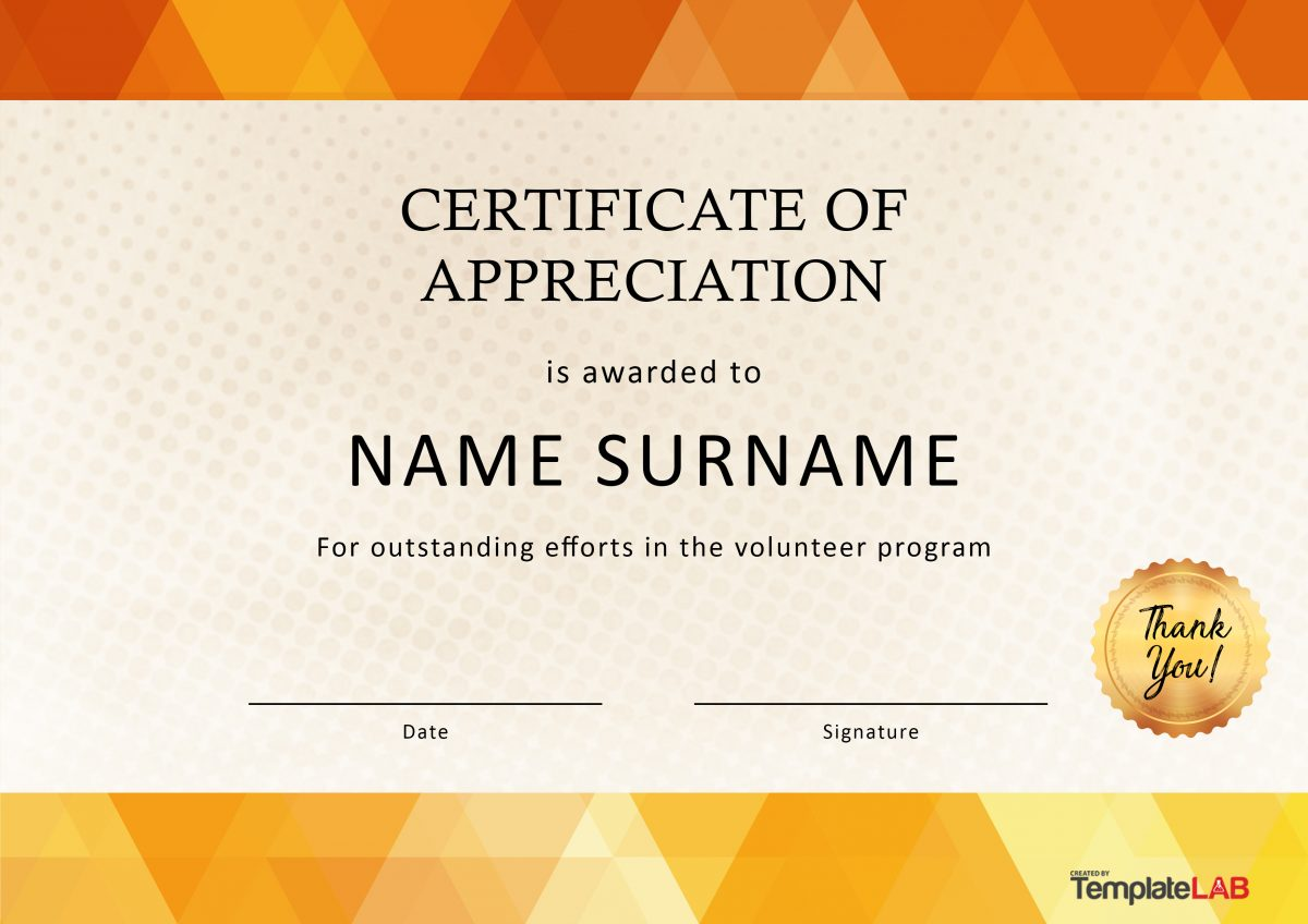 Free Volunteer Certificate of Appreciation 01