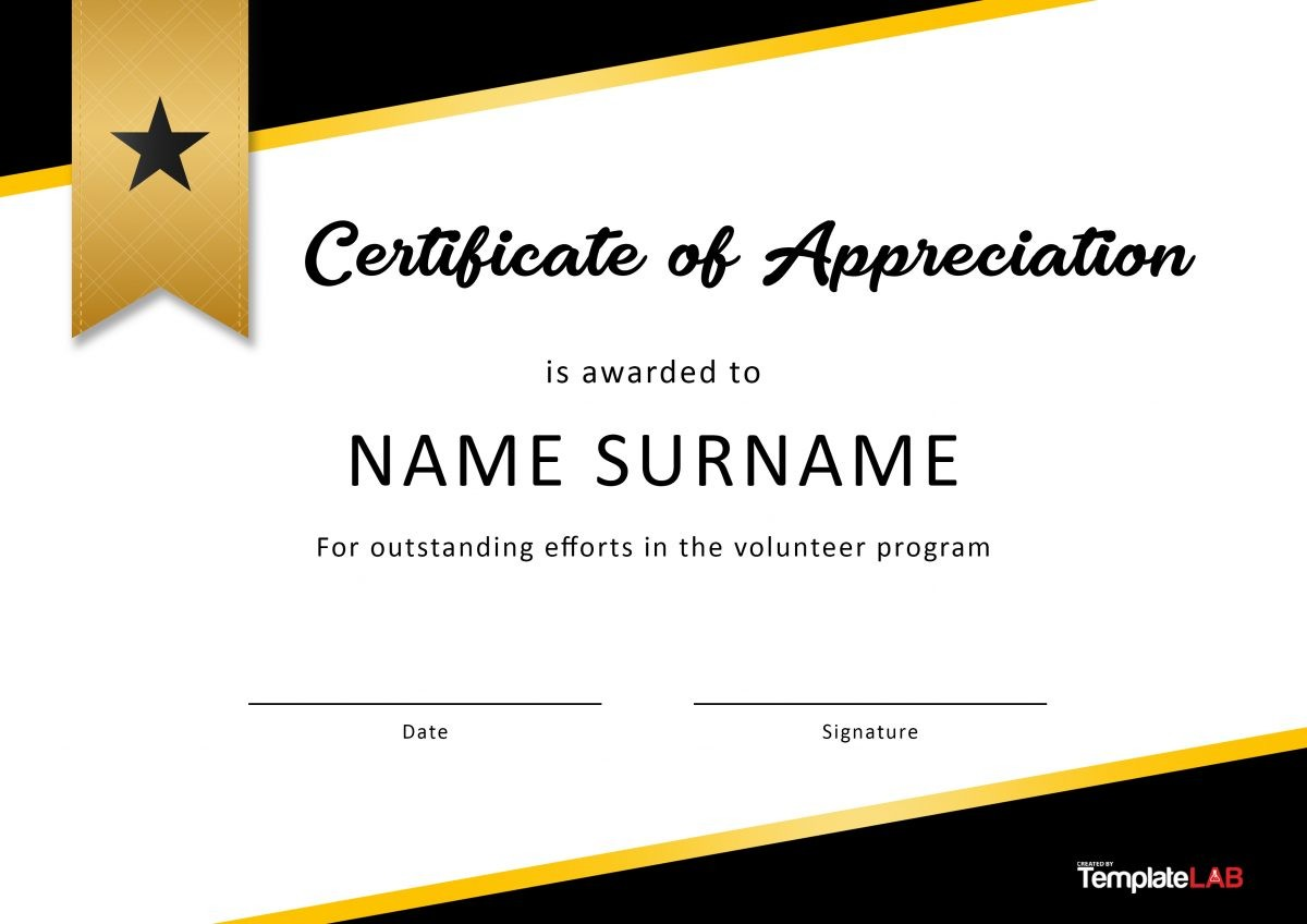 Free Volunteer Certificate of Appreciation 02