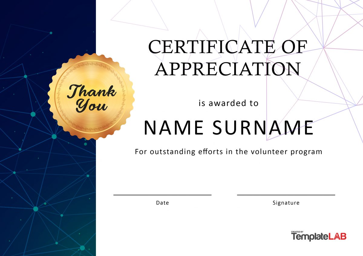 Free Volunteer Certificate of Appreciation 03