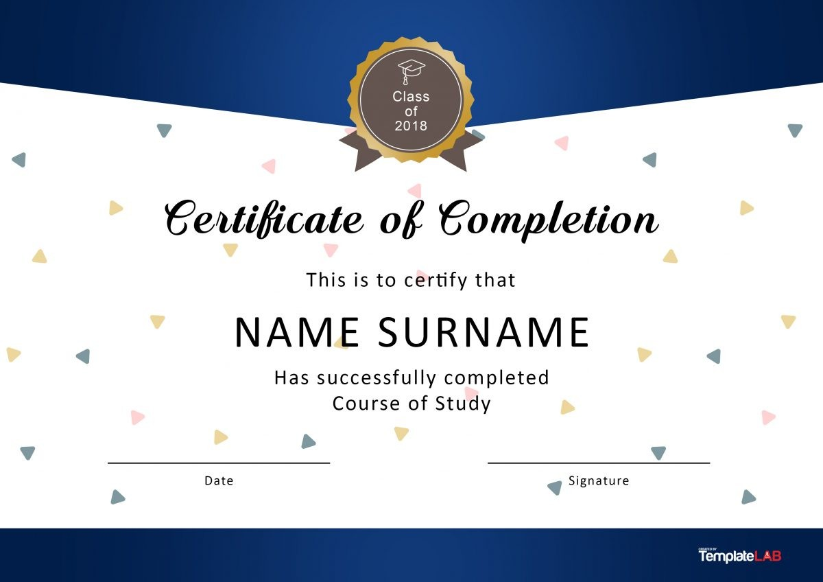 Free Certificate of Completion 1