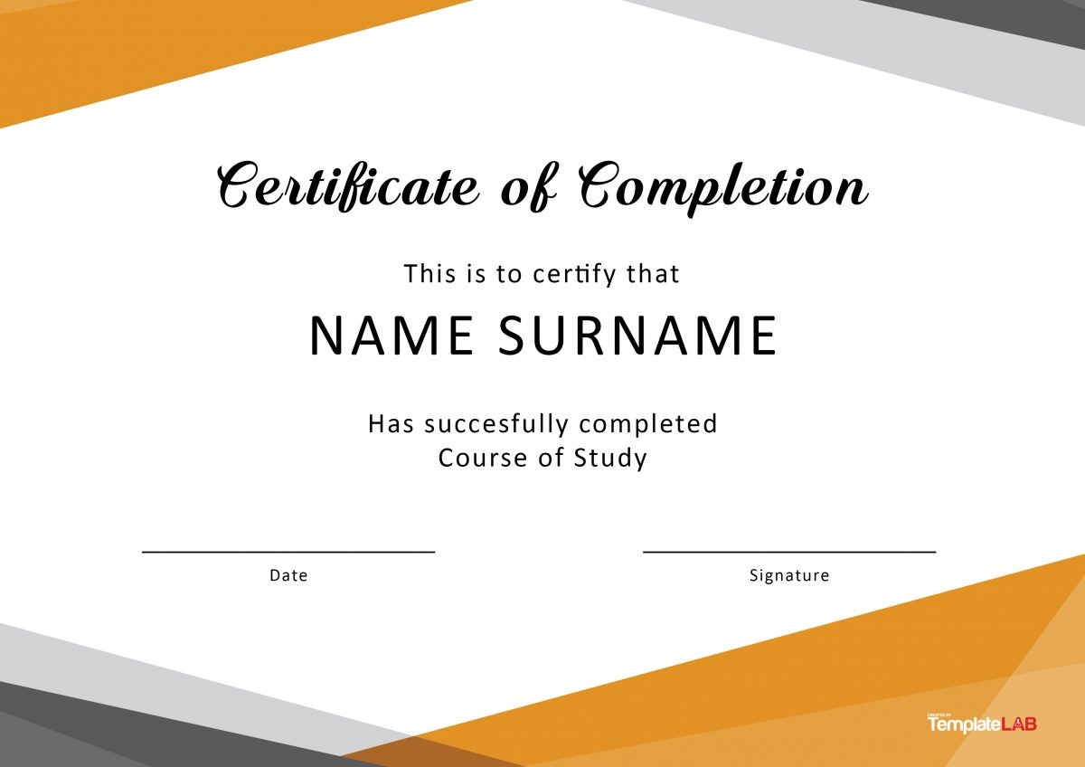 image regarding Free Printable Certificate of Completion titled 40 Extraordinary Certification of Completion Templates [Term
