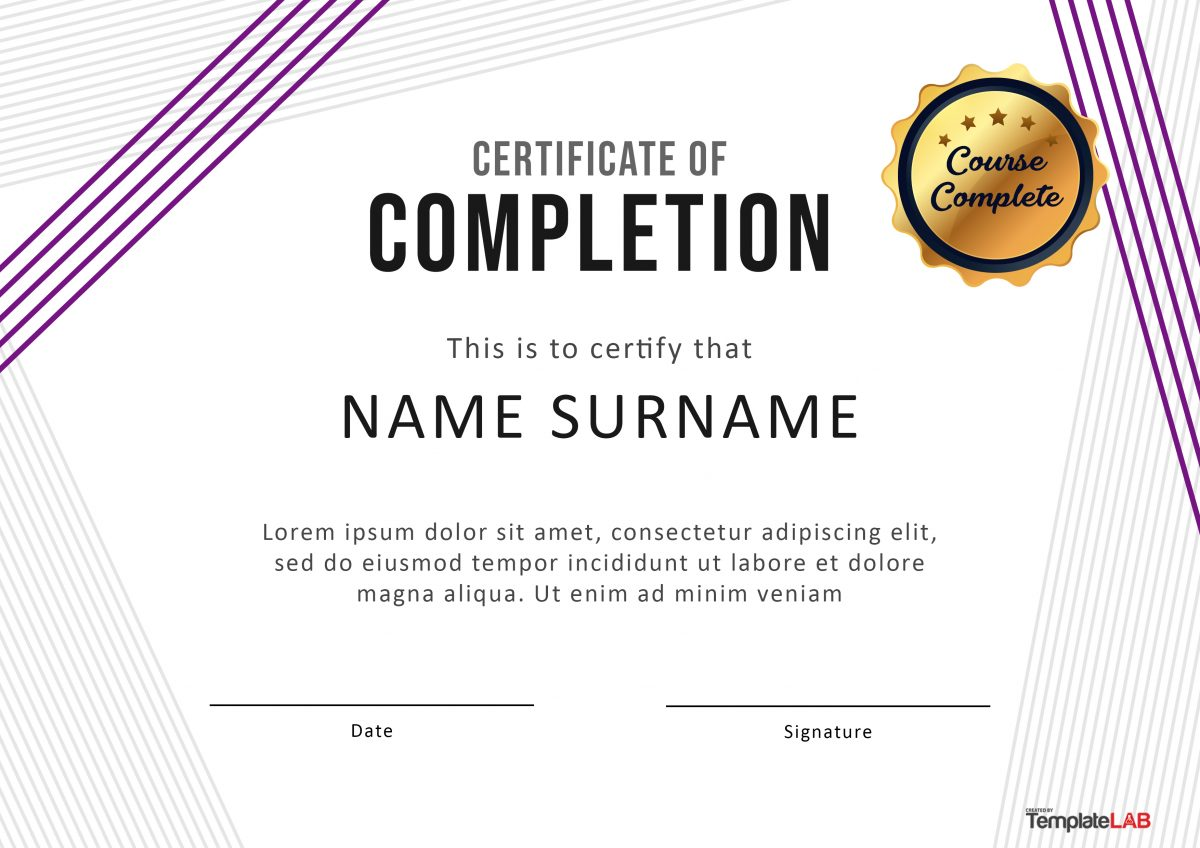 This is a graphic of Luscious Printable Certificate of Completion