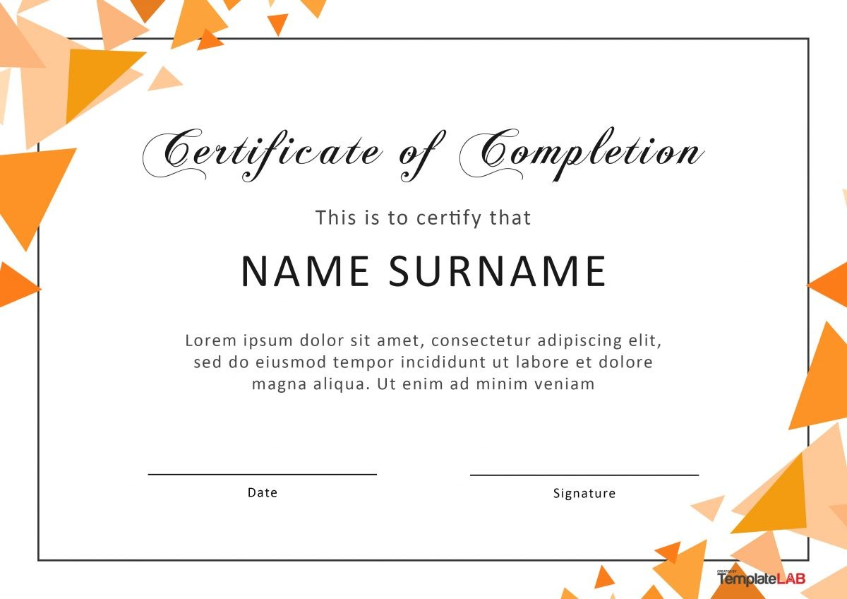 40 Fantastic Certificate of Completion Templates [Word
