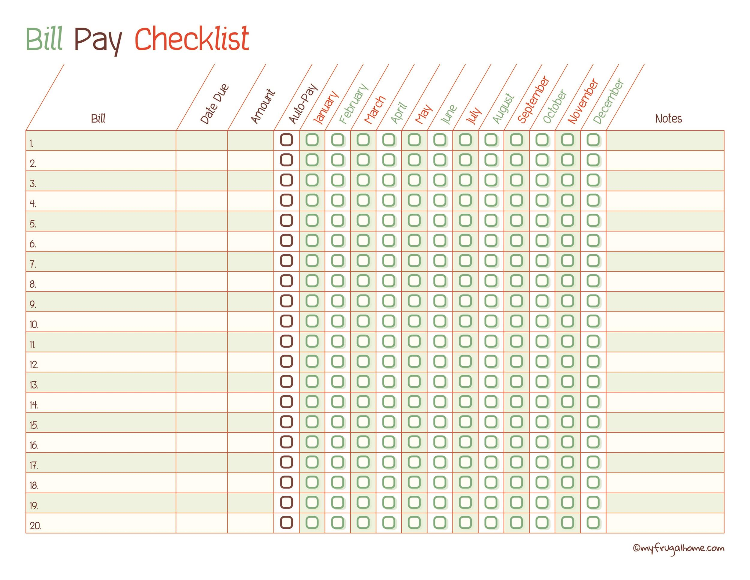 Free bill pay checklist template 03