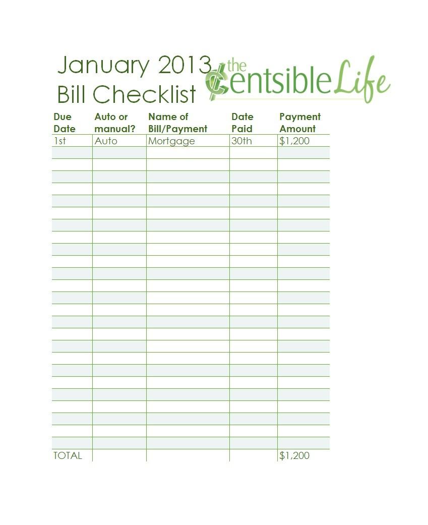 Free bill pay checklist template 04