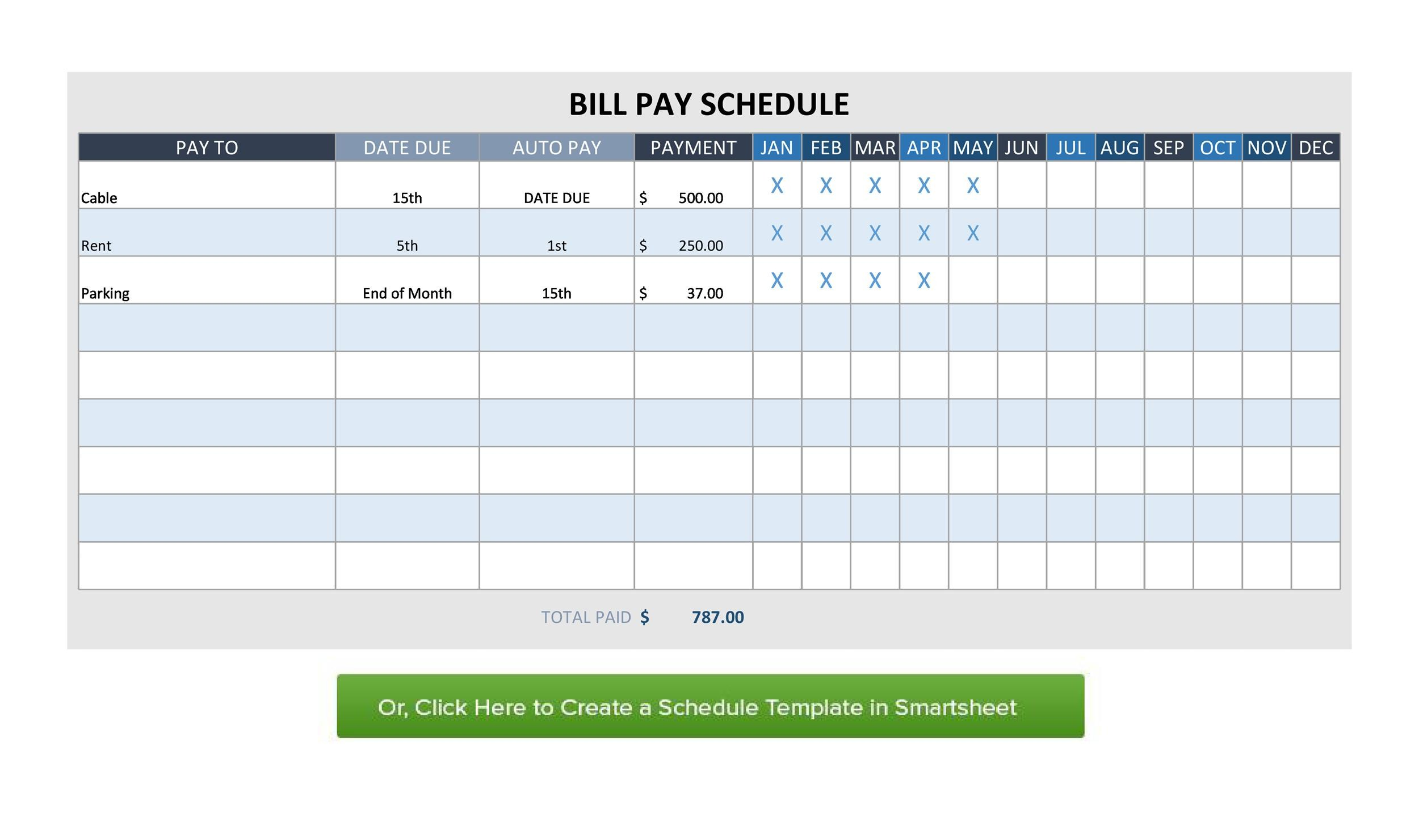 photo about Free Printable Monthly Bill Payment Log known as 32 Cost-free Invoice Pay back Checklists Monthly bill Calendars (PDF, Term Excel)