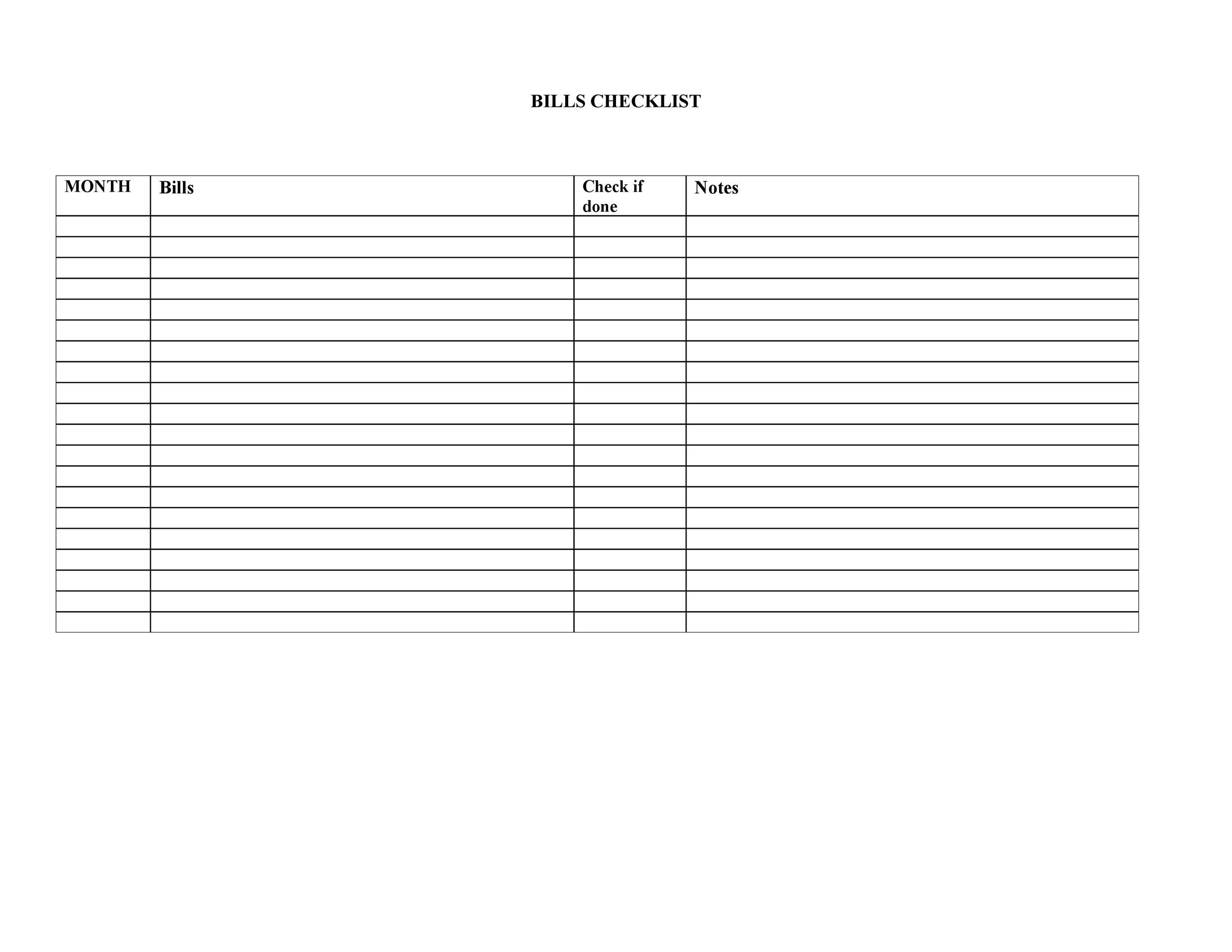 Free bill pay checklist template 13