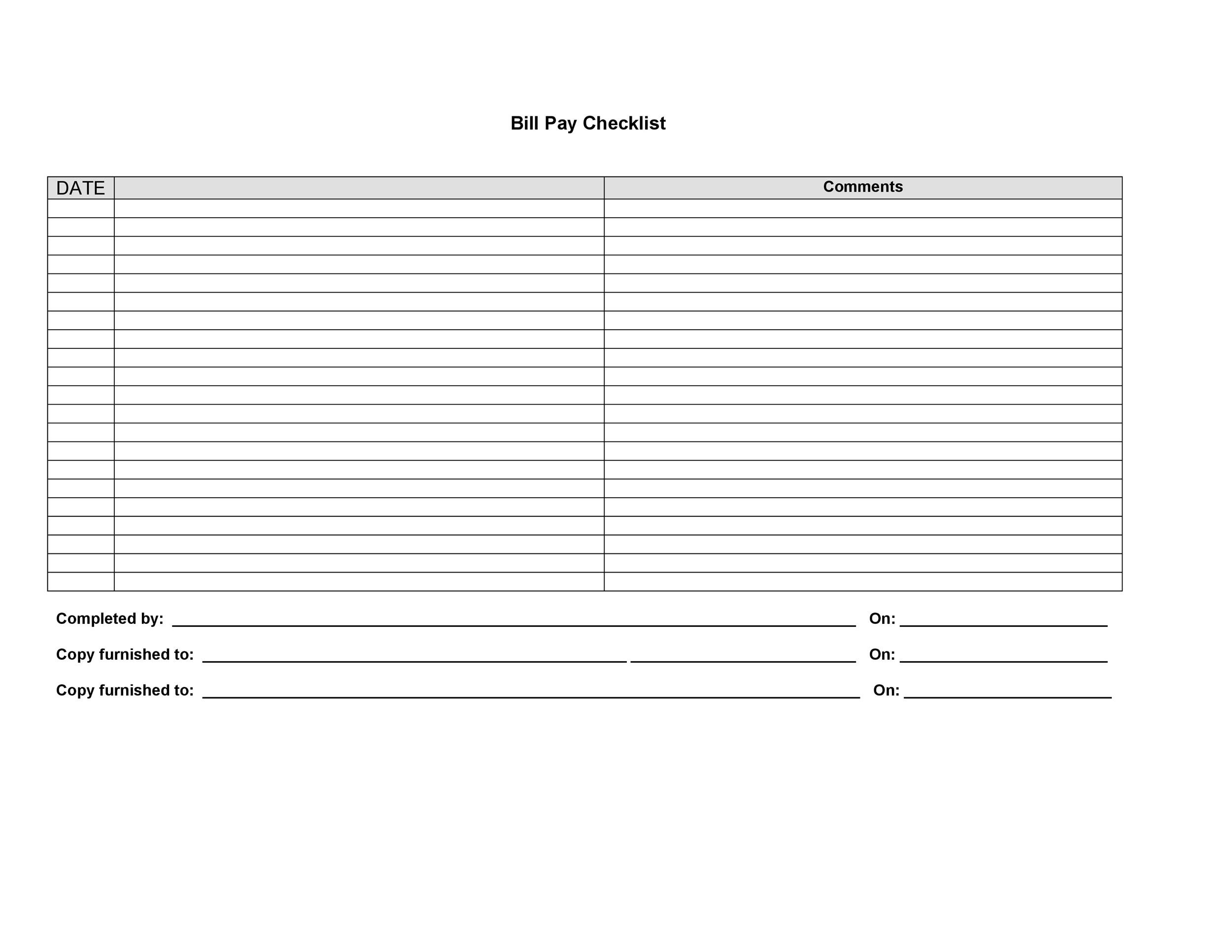 Free bill pay checklist template 15