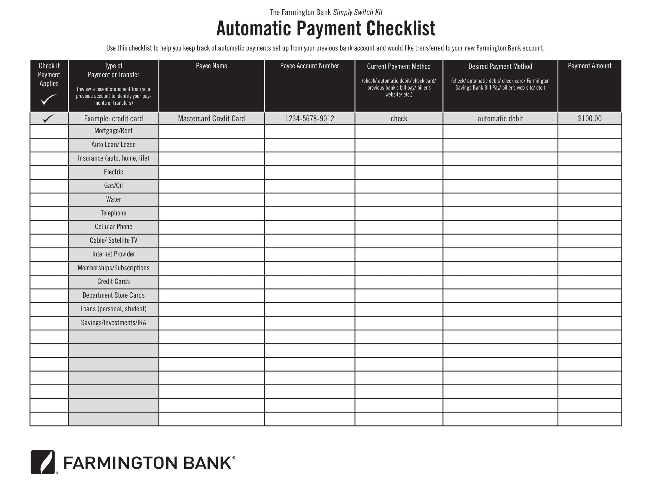 Free bill pay checklist template 20
