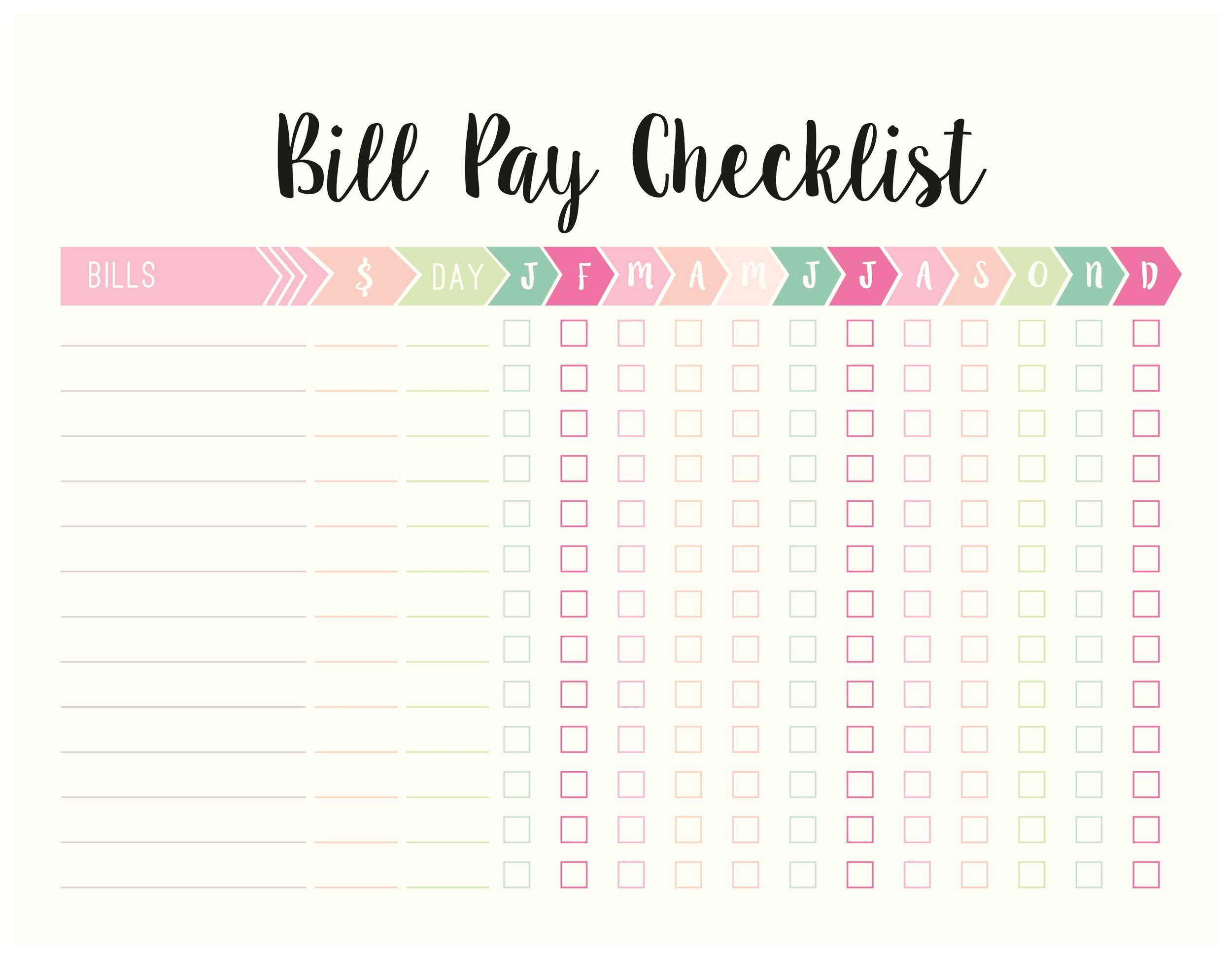 Free bill pay checklist template 23