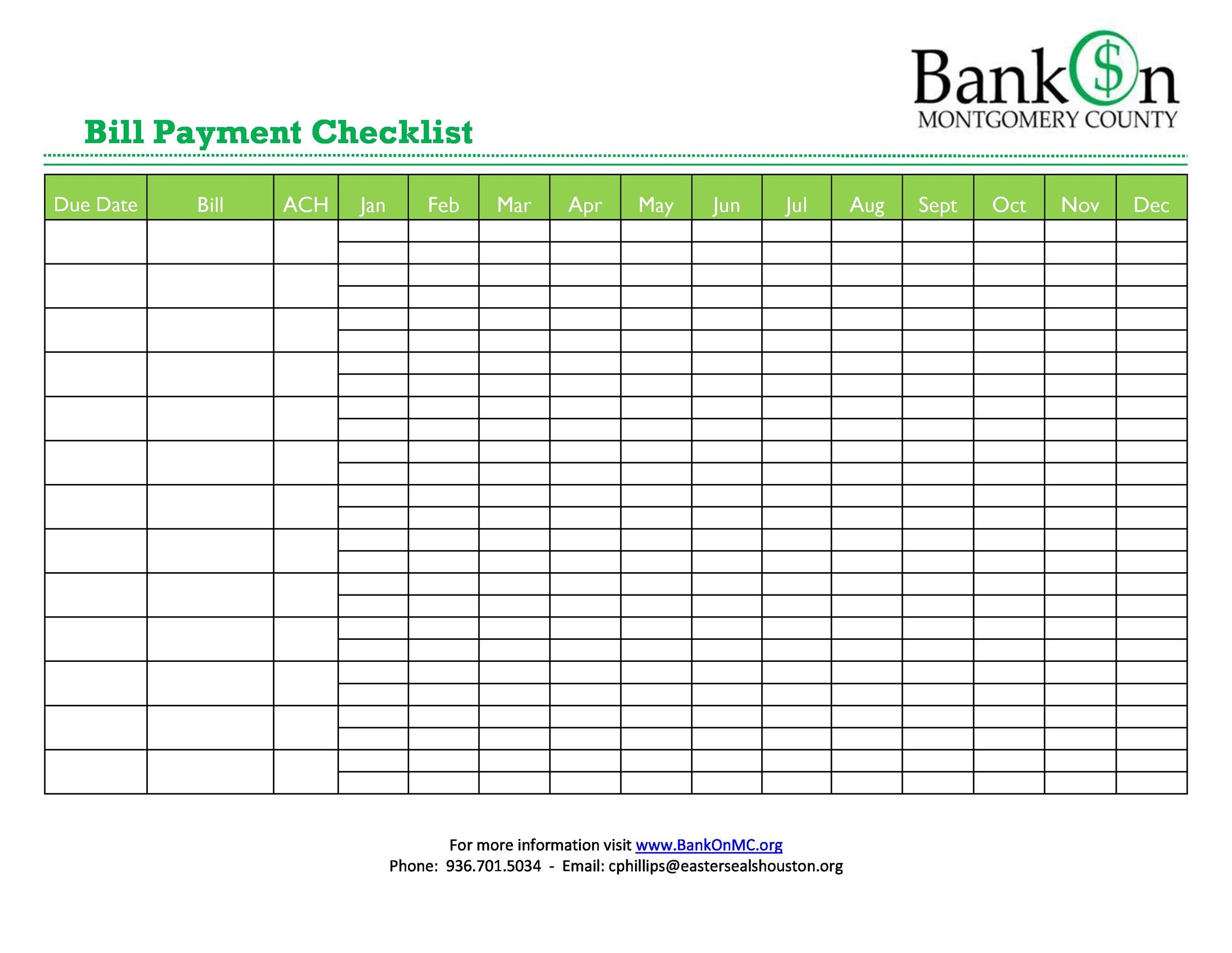 Free bill pay checklist template 24