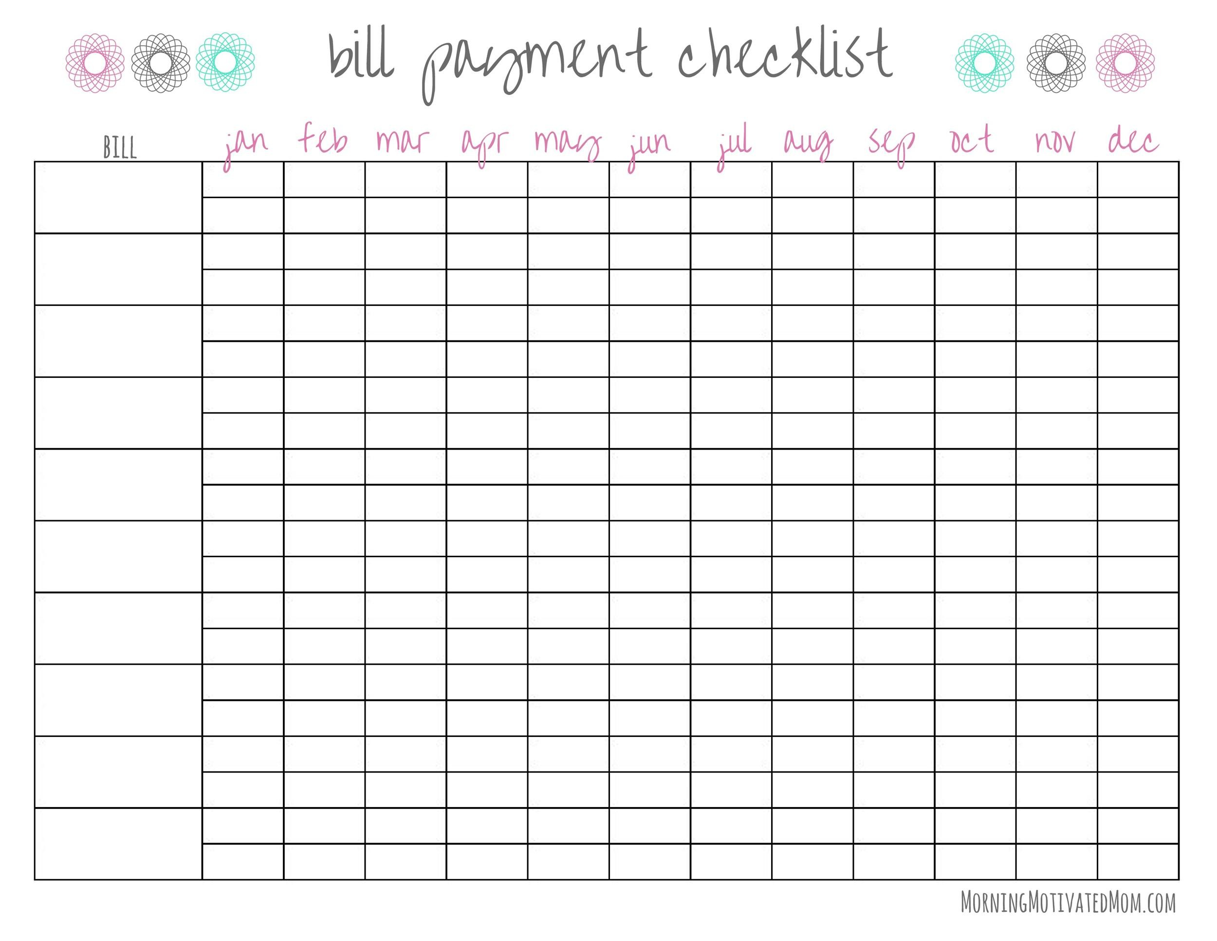 33 free bill pay checklists  u0026 bill calendars  pdf  word  u0026 excel