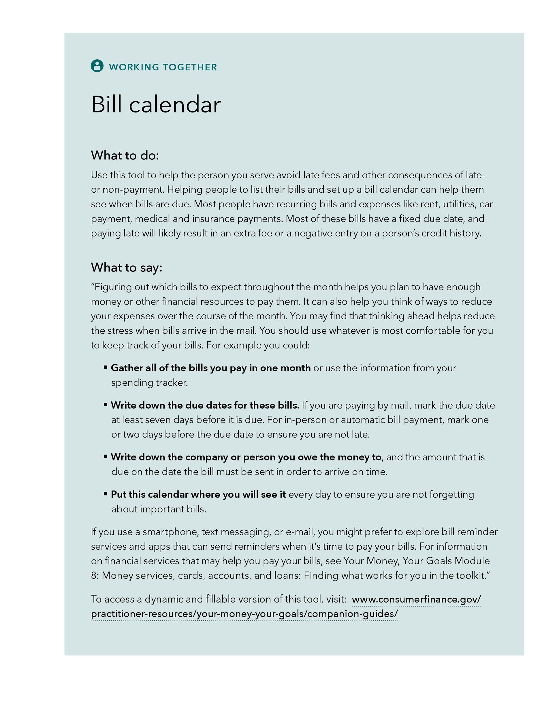 Bill Pay Checklists