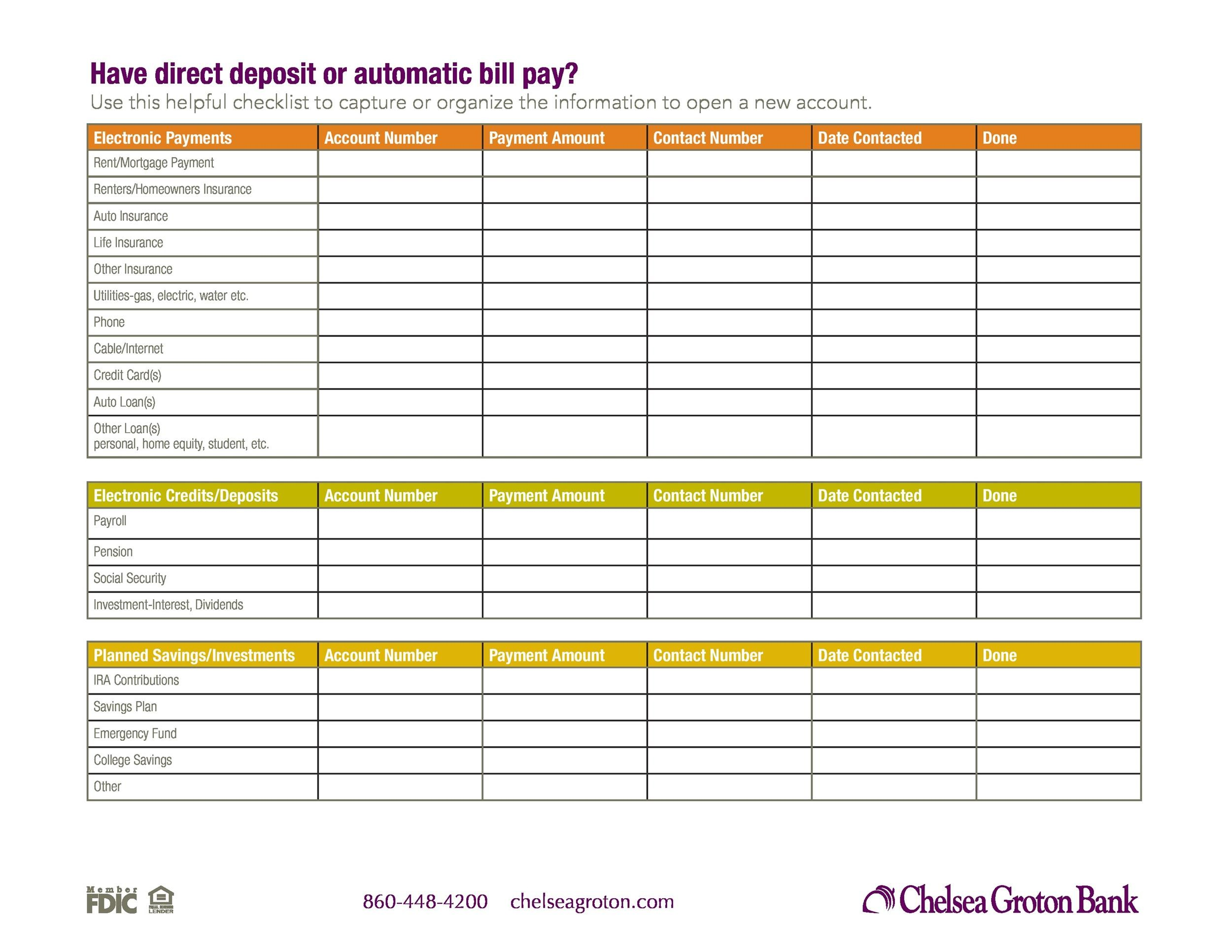 Free bill pay checklist template 30