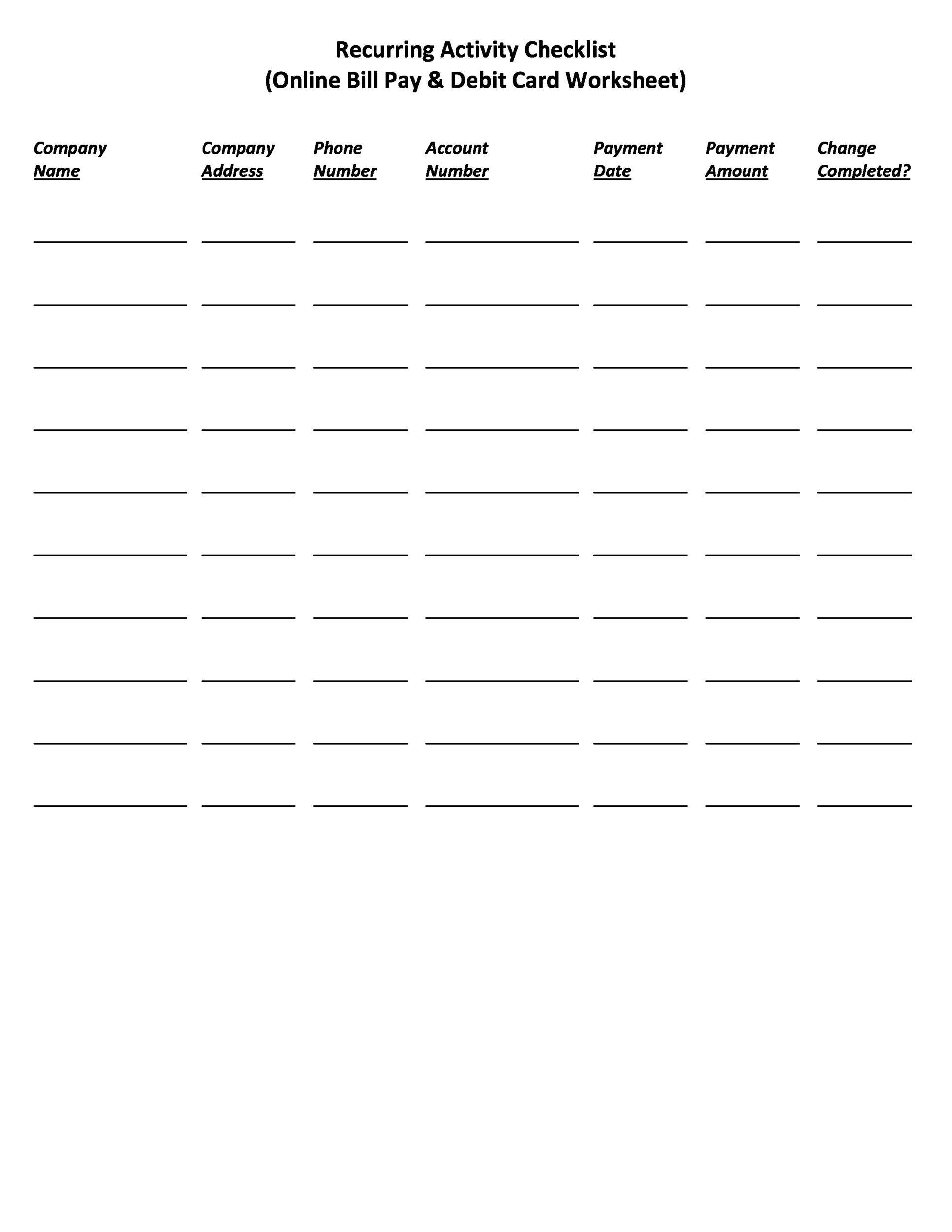 Free bill pay checklist template 32