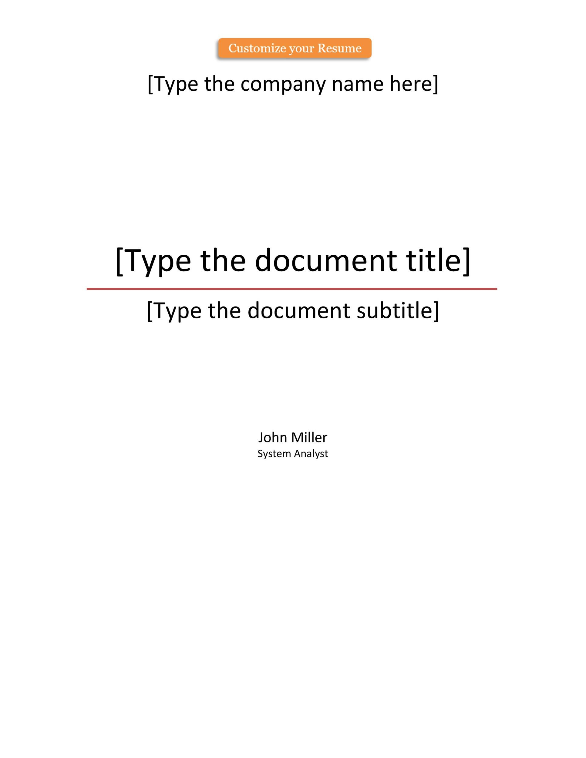 title page for word