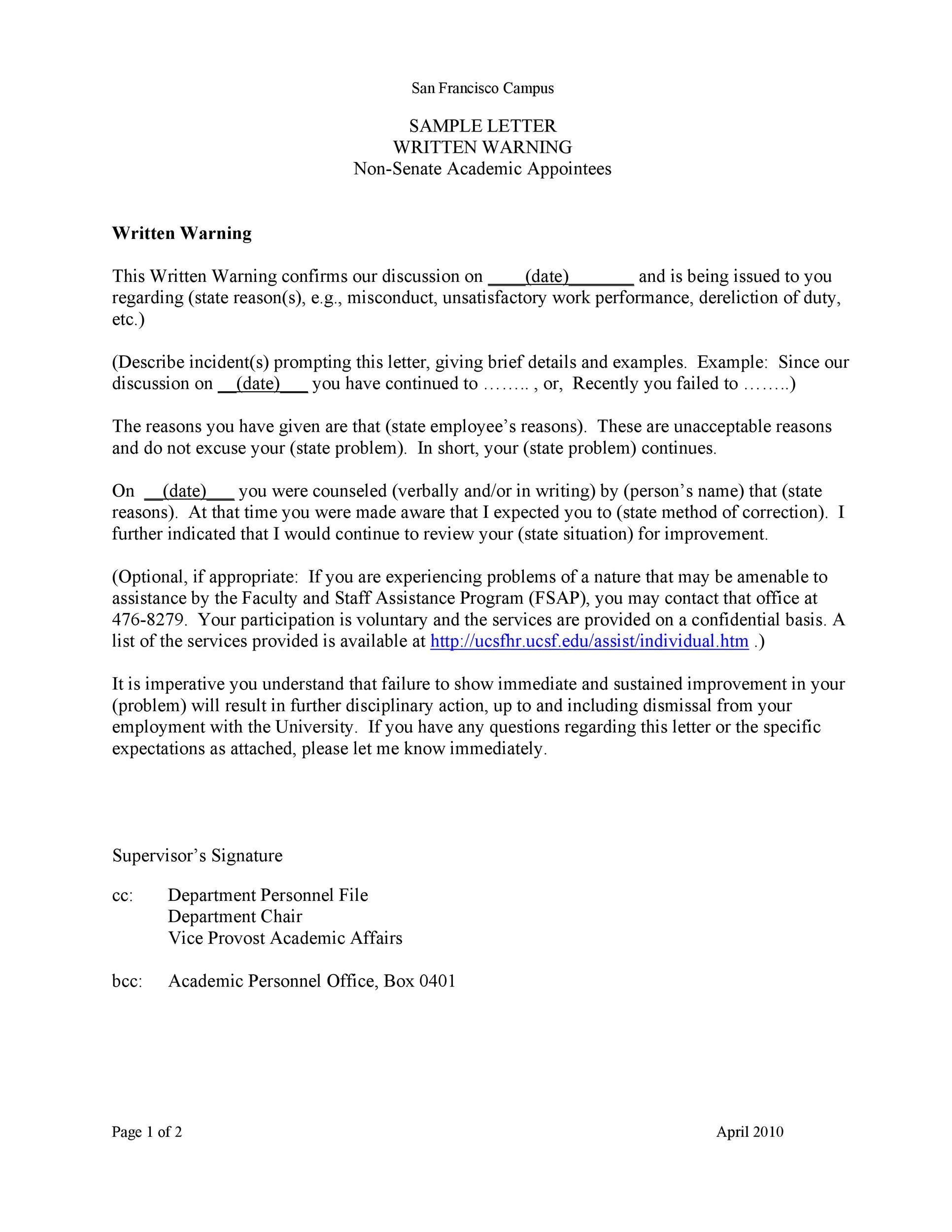 Free employee warning letter 03