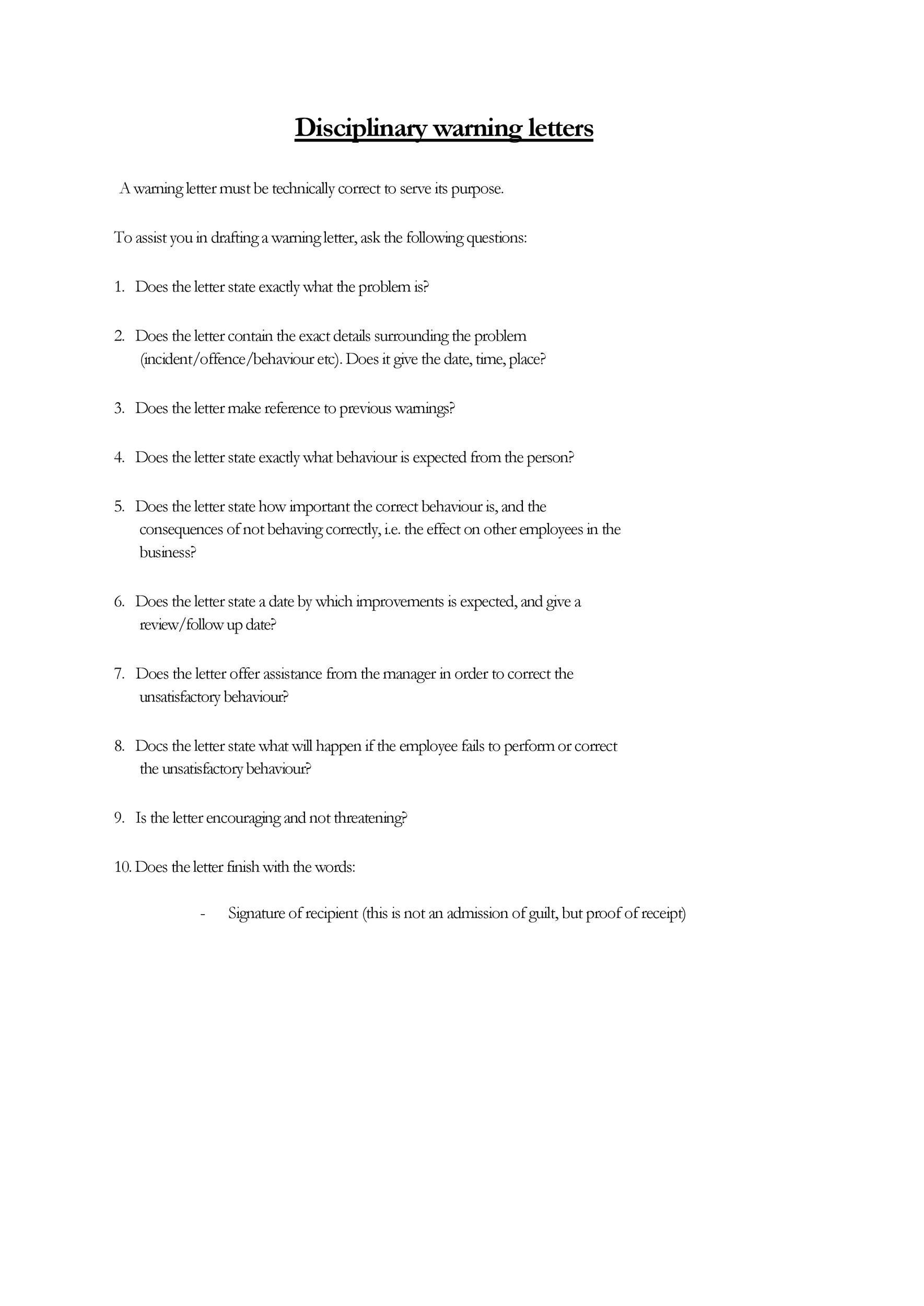 Free employee warning letter 05