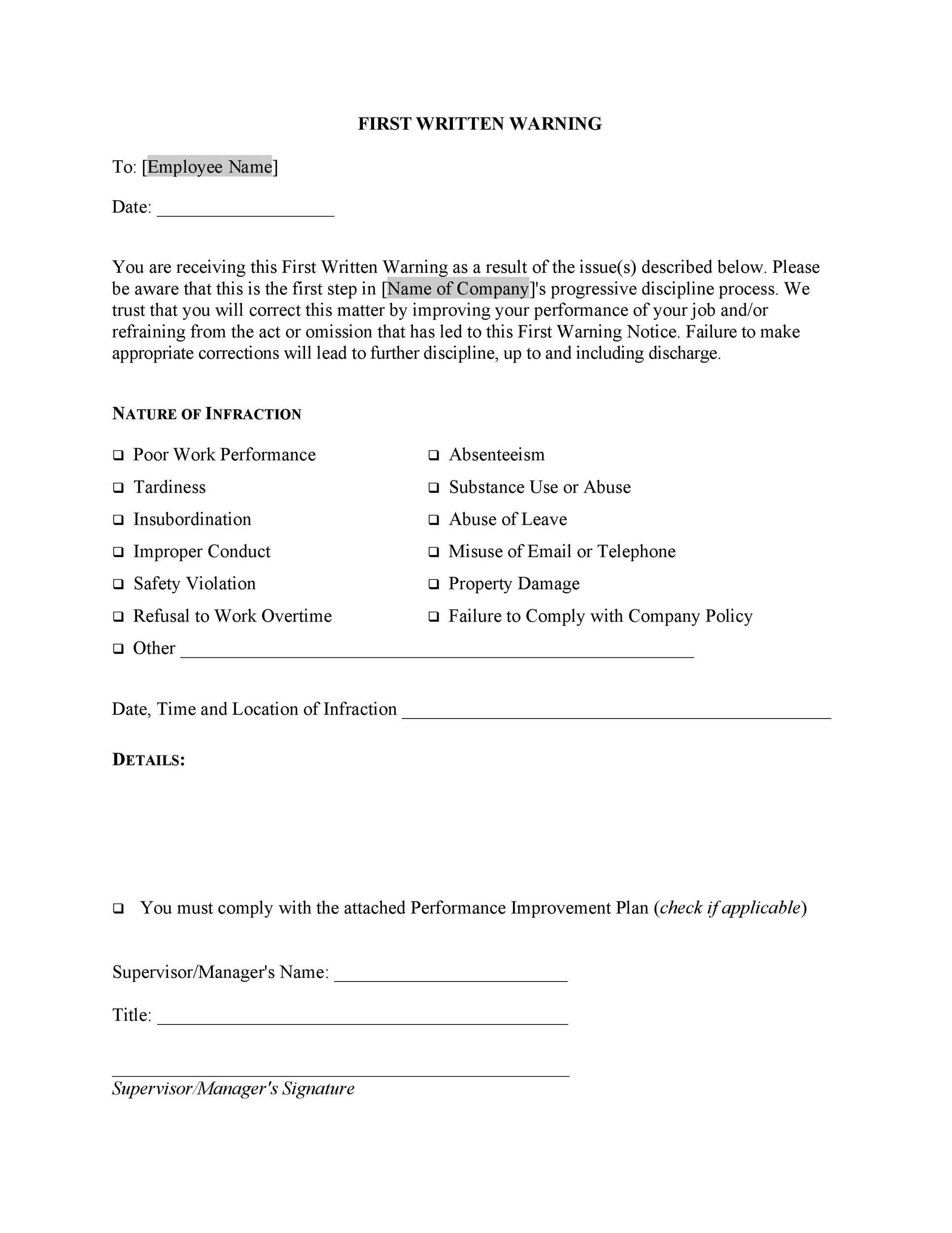 Free employee warning letter 08