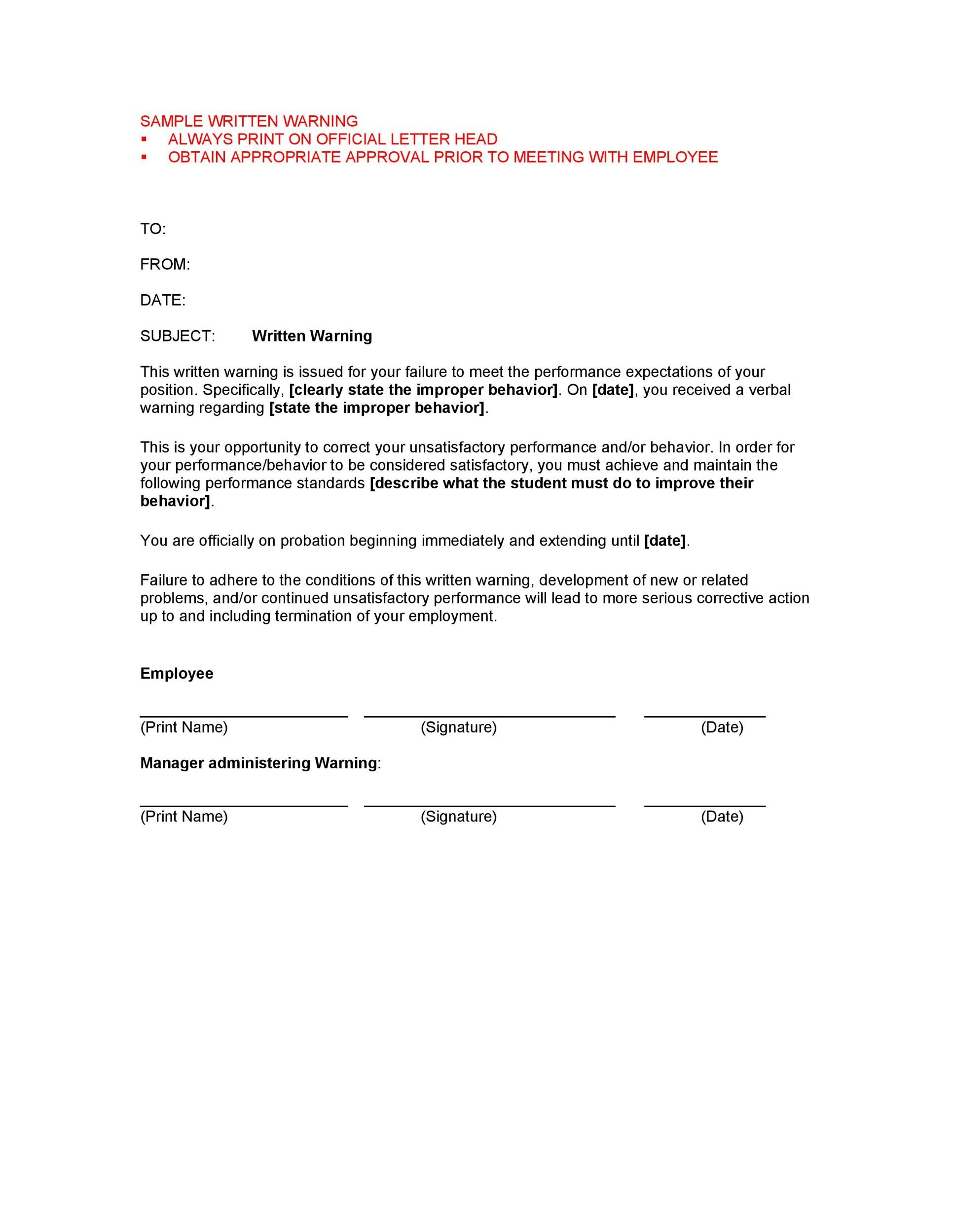 Free employee warning letter 10
