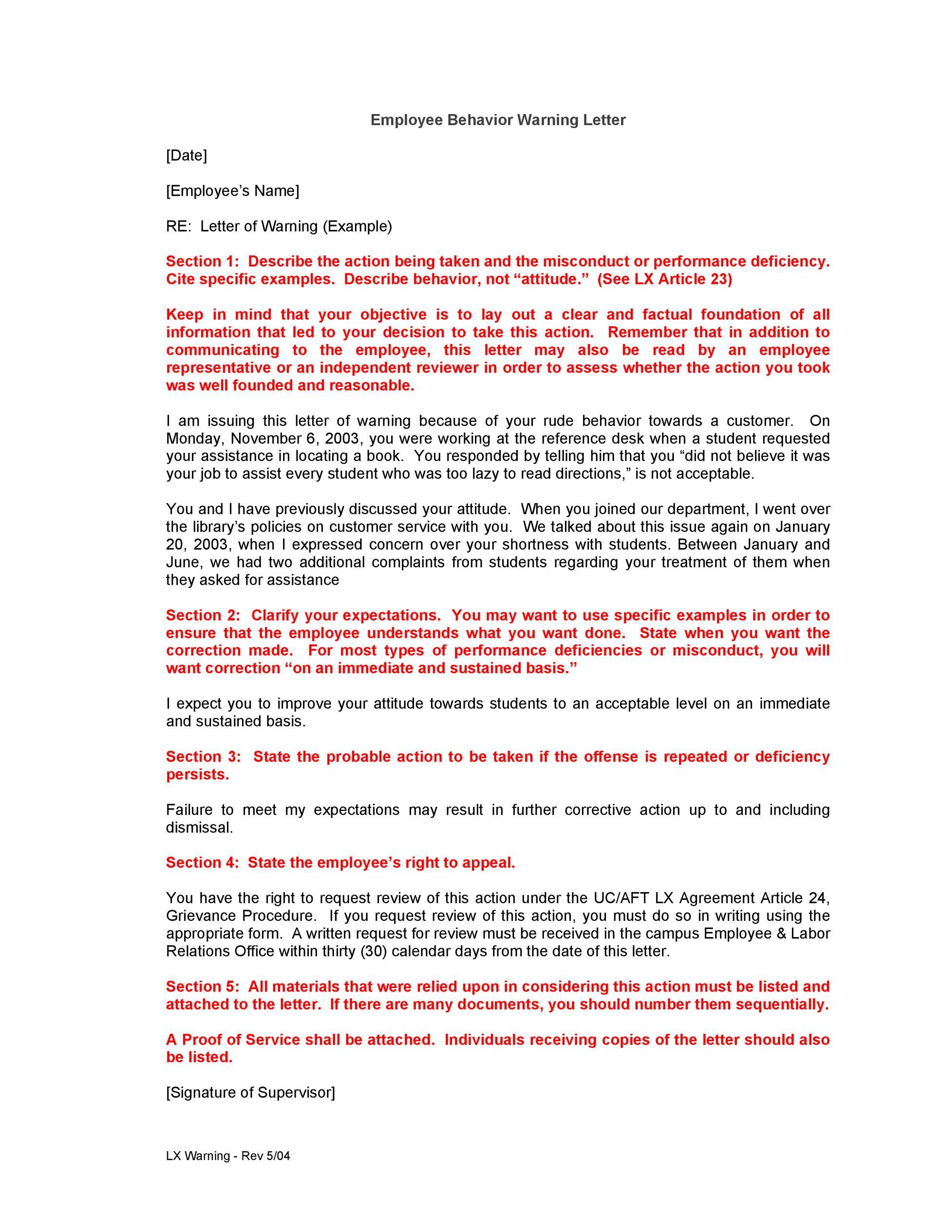 Free employee warning letter 11
