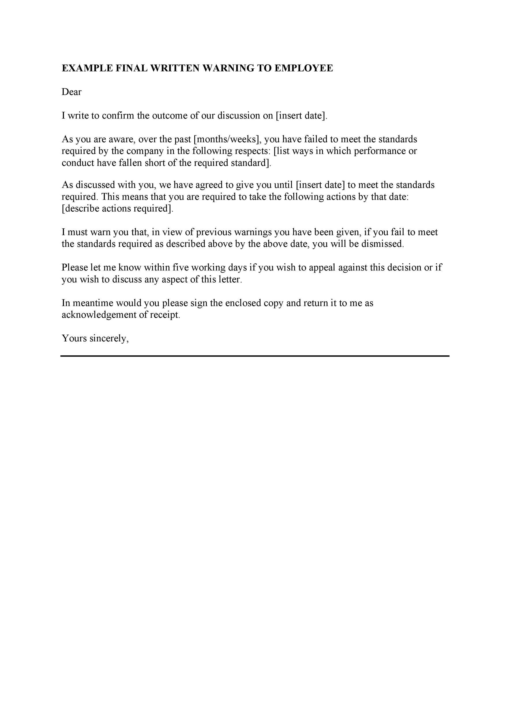 Free employee warning letter 12