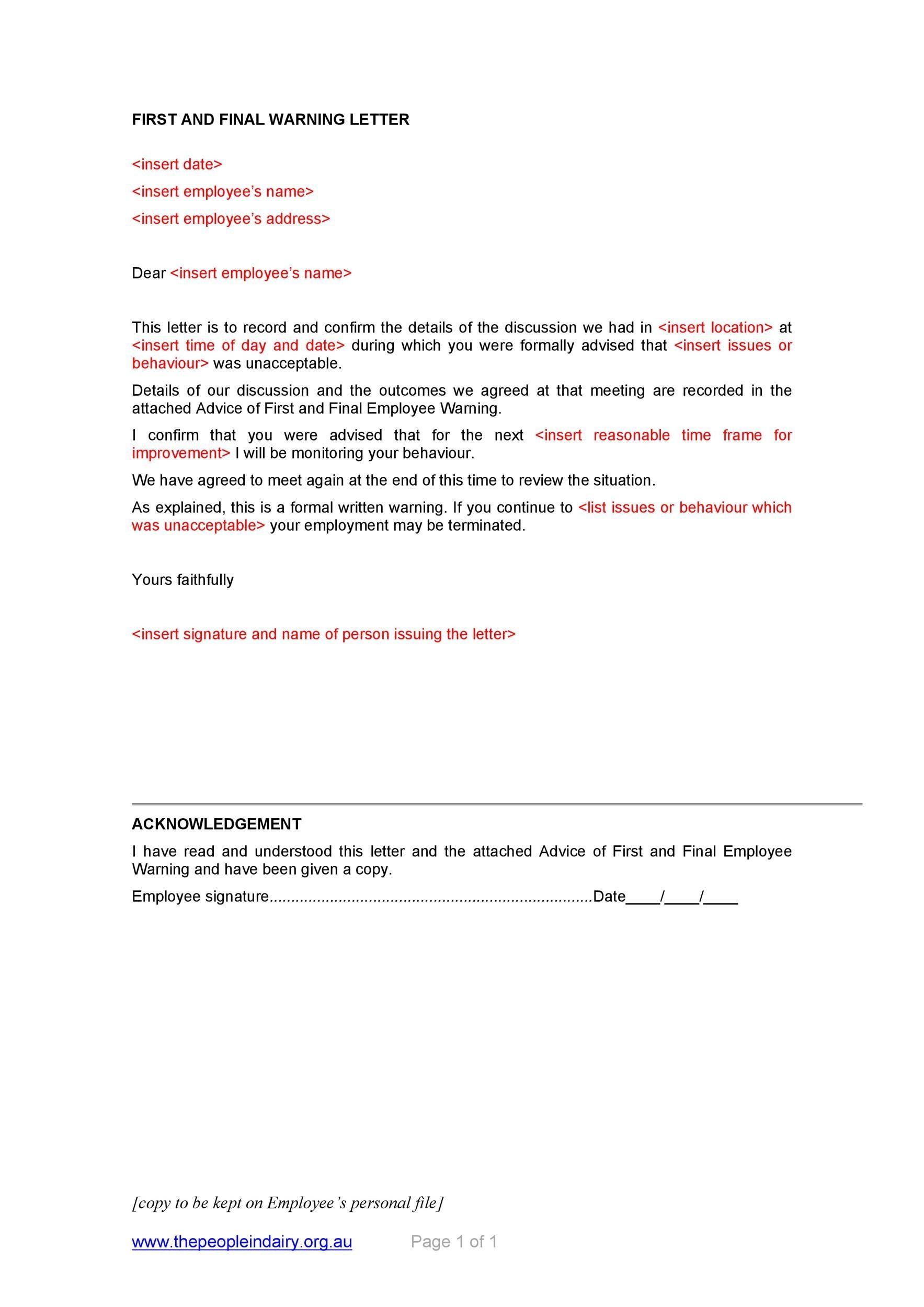 Free employee warning letter 14