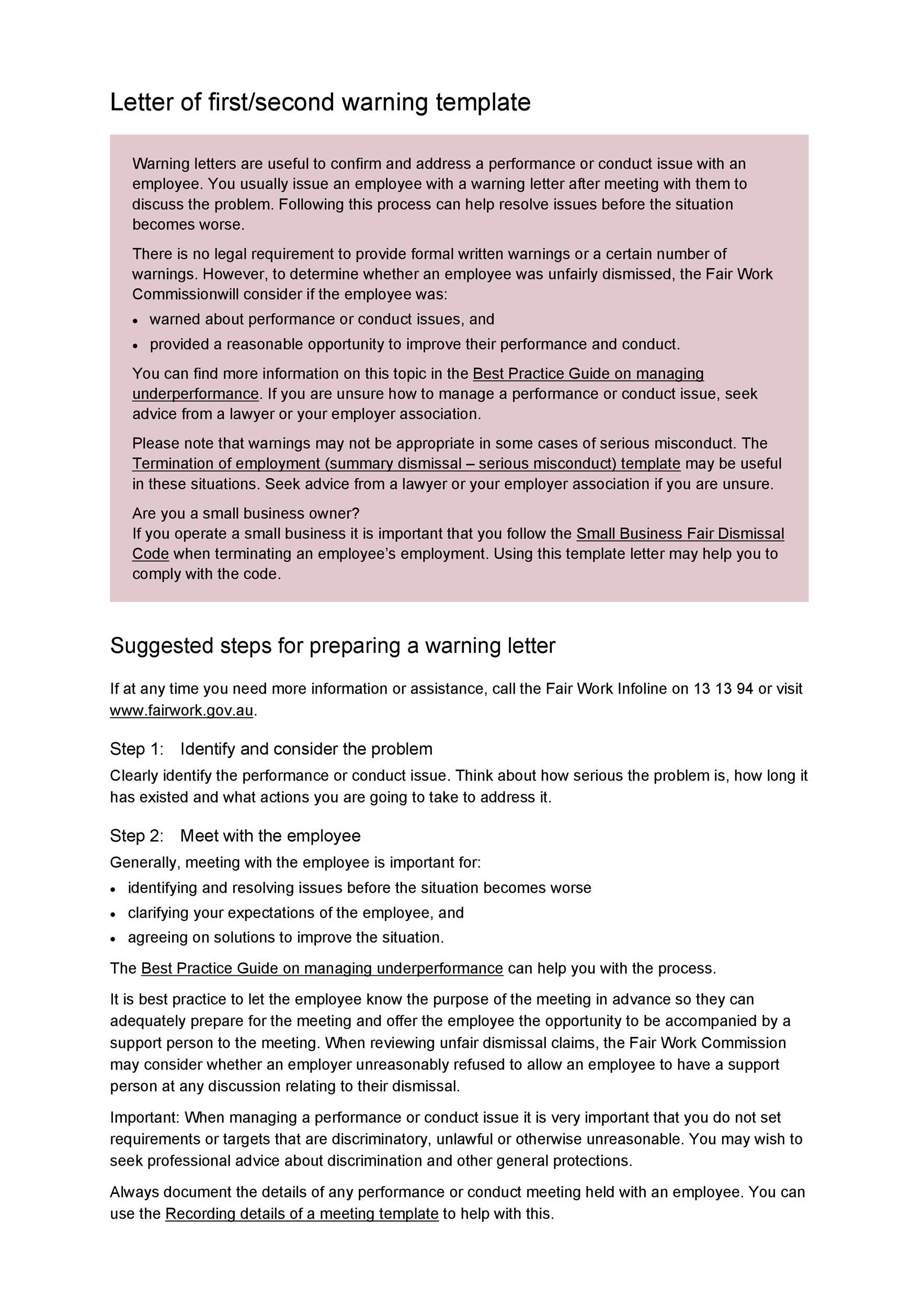 Free employee warning letter 18