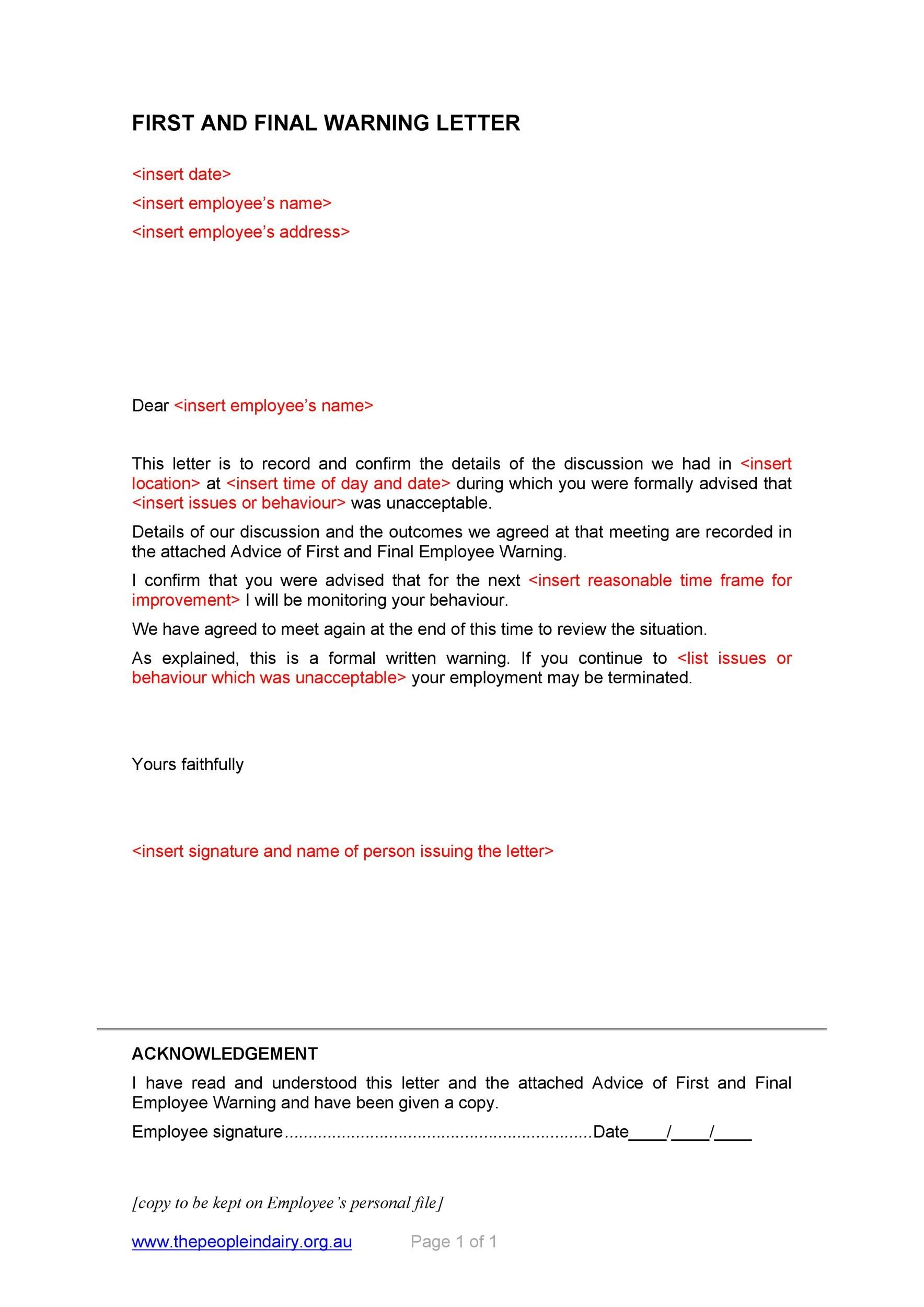 Free employee warning letter 22