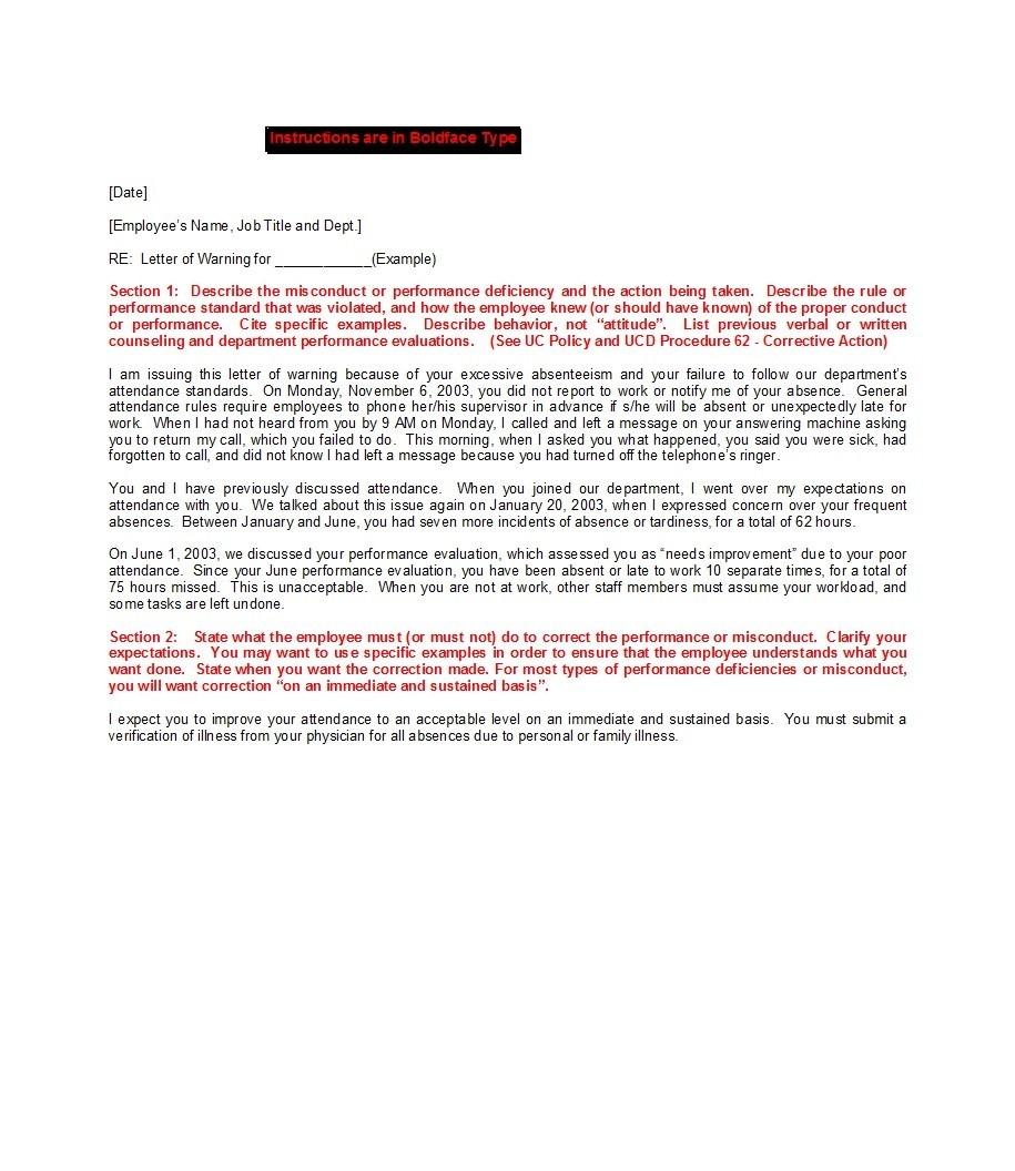 Free employee warning letter 23