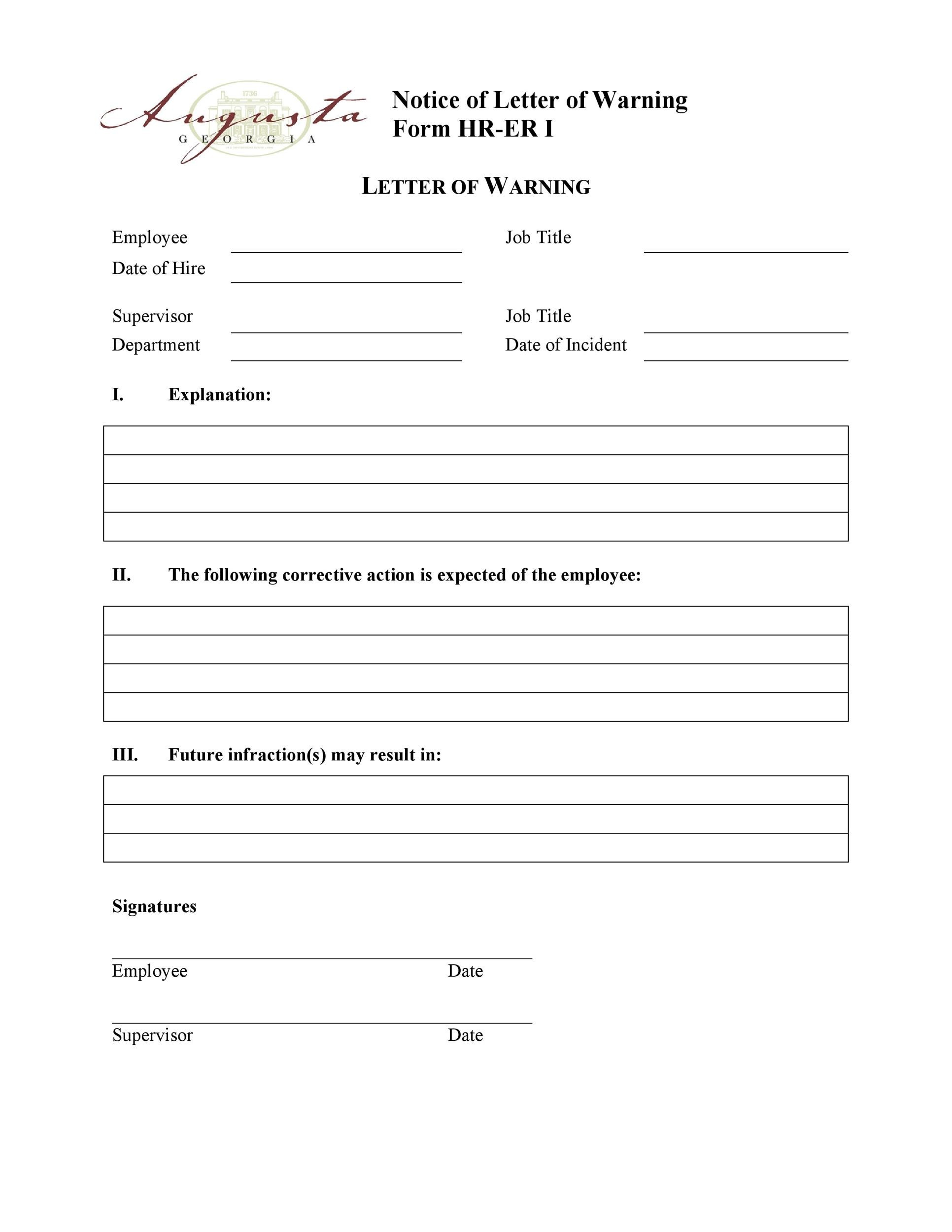 Free employee warning letter 25