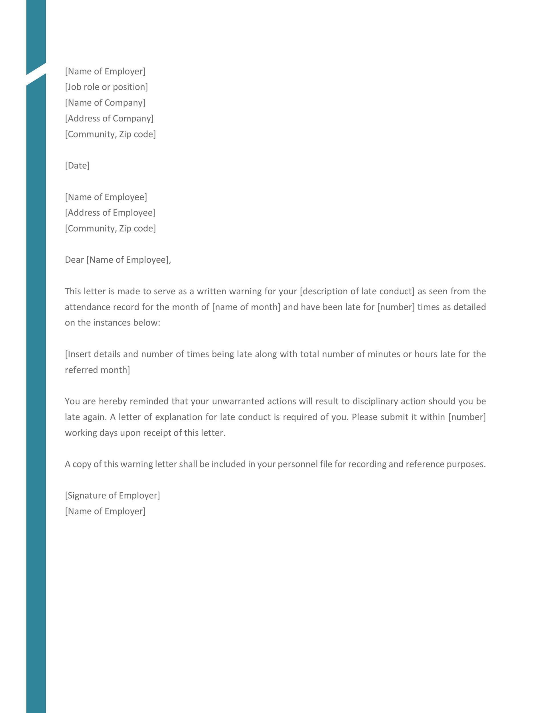 Free employee warning letter 27