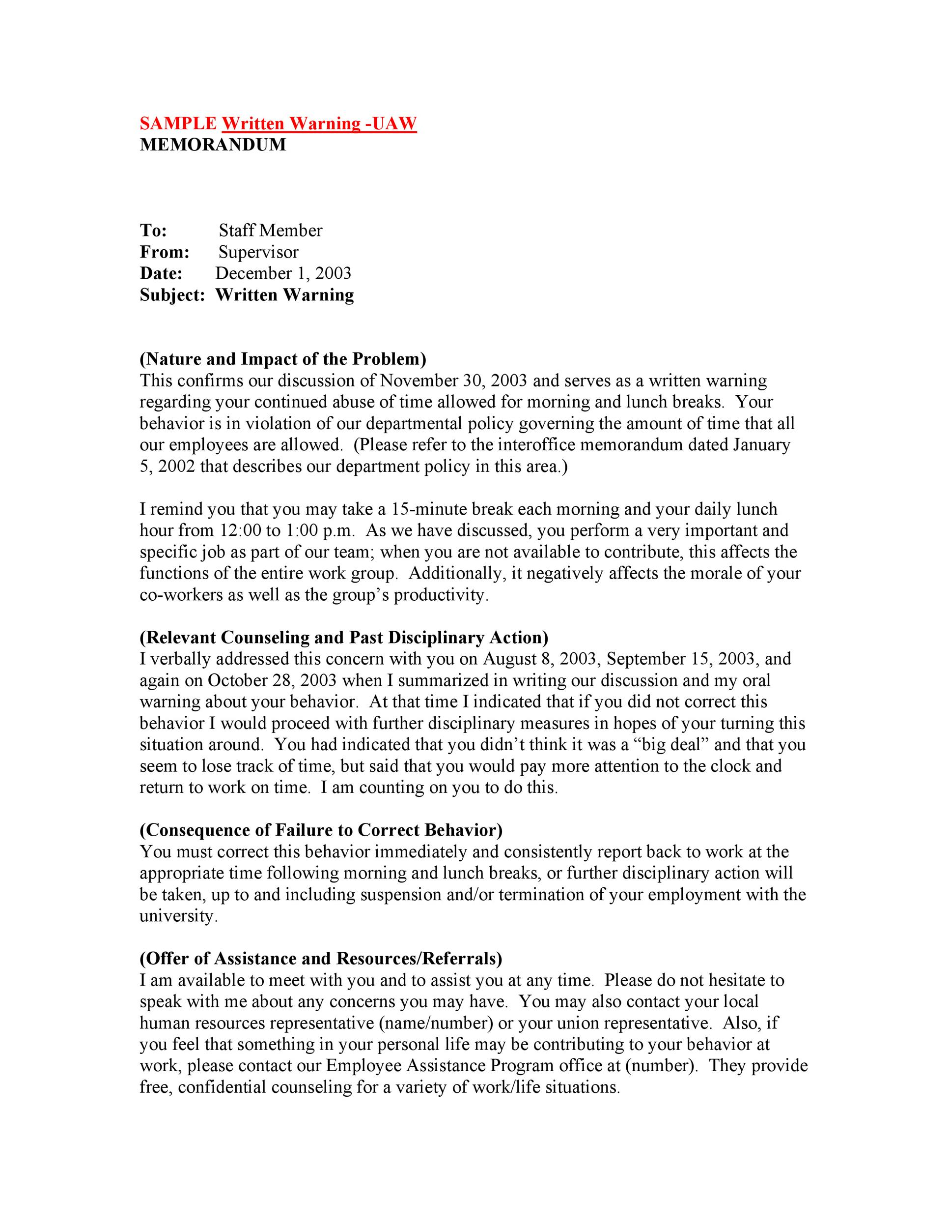 Free employee warning letter 30